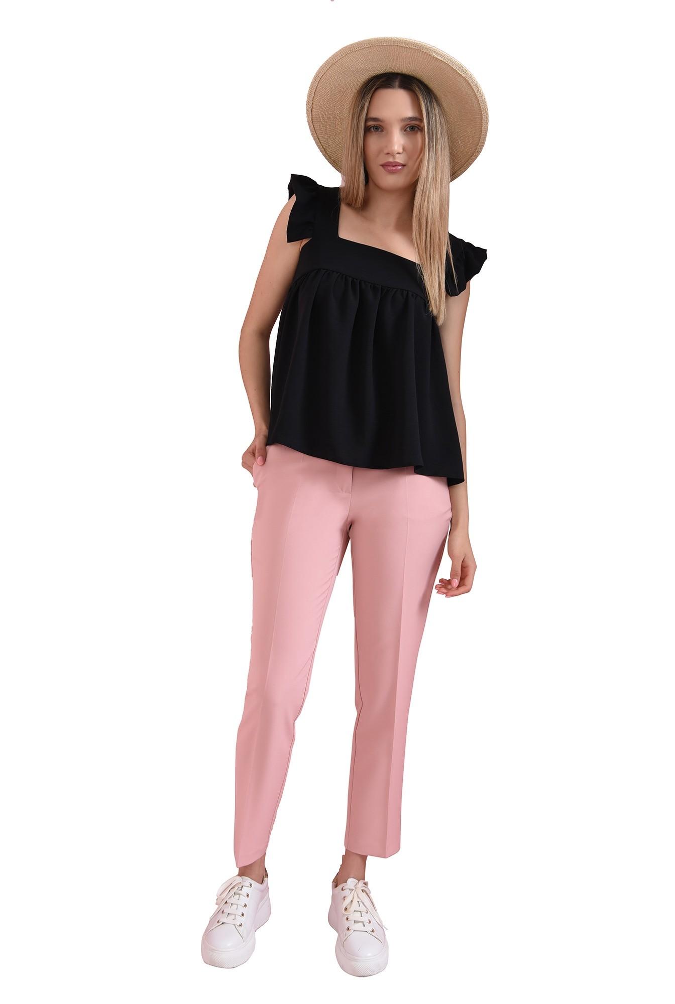 3 - pantaloni casual, roz, cu buzunar decorativ
