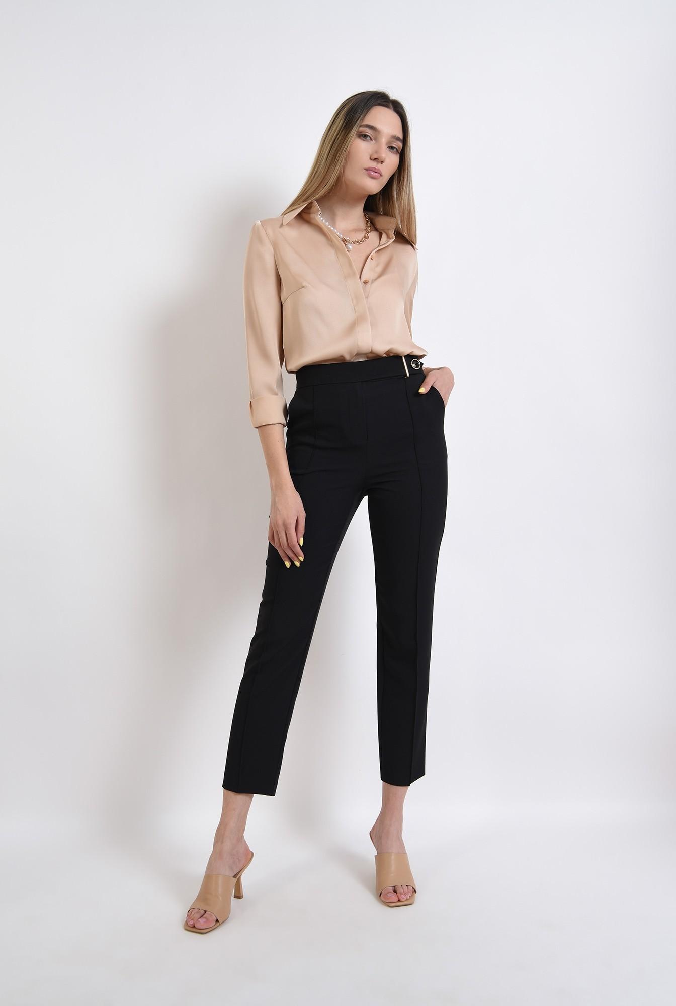 0 - pantaloni tigareta, negri, conici, cu buzunare