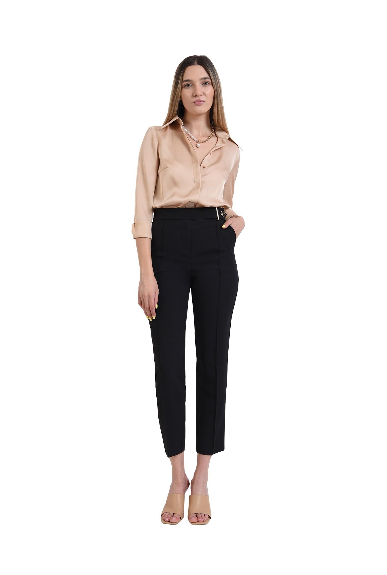3 - pantaloni tigareta, negri, conici, cu buzunare