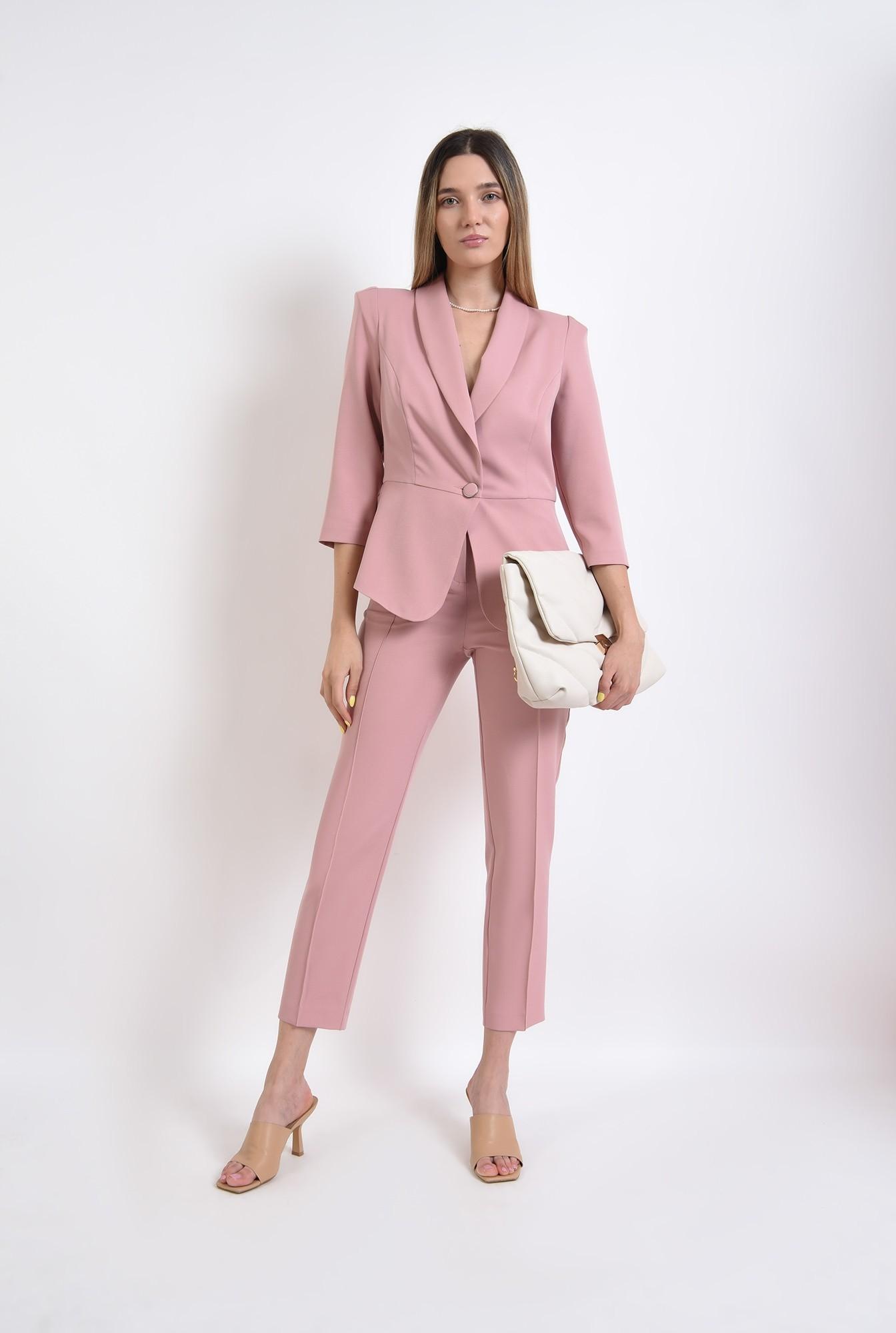 1 -  pantaloni roz, conici, office, casual, pantaloni pana