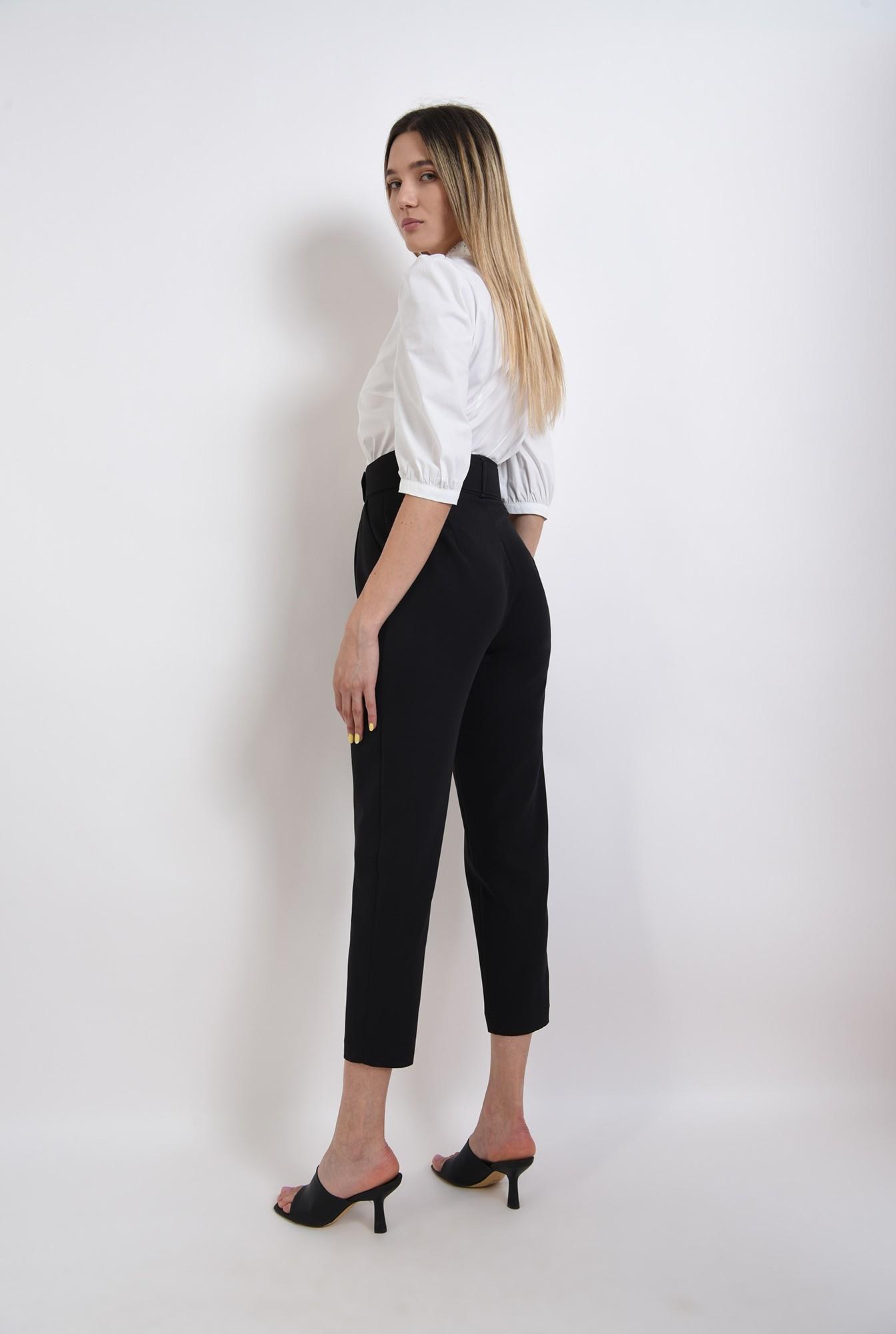 1 - pantaloni conici, office, cu centura, negri