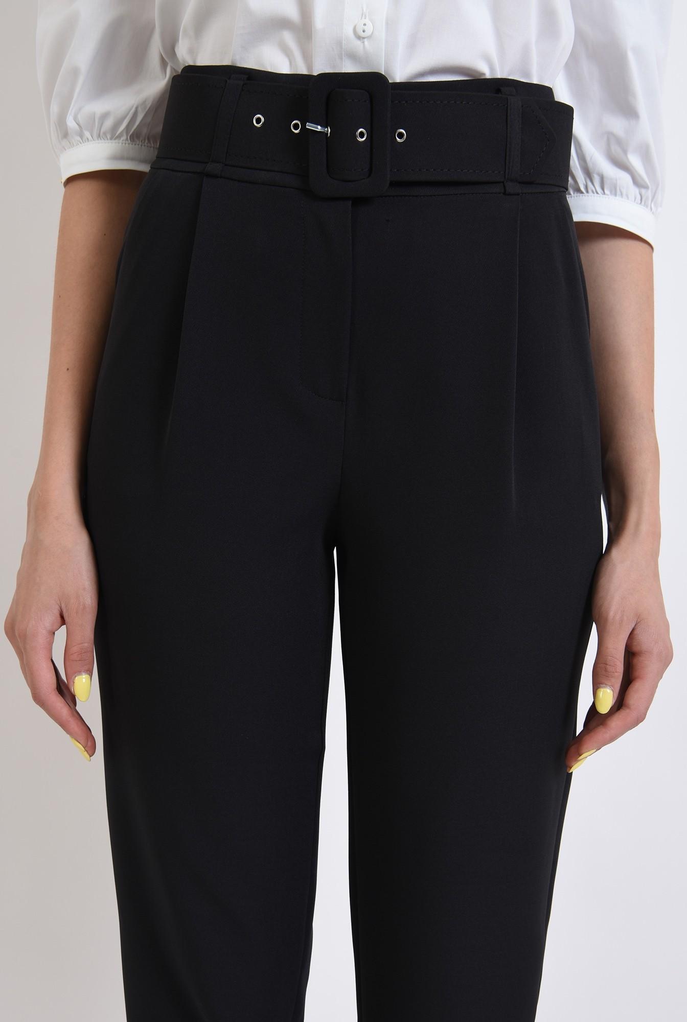 2 - pantaloni conici, office, cu centura, negri