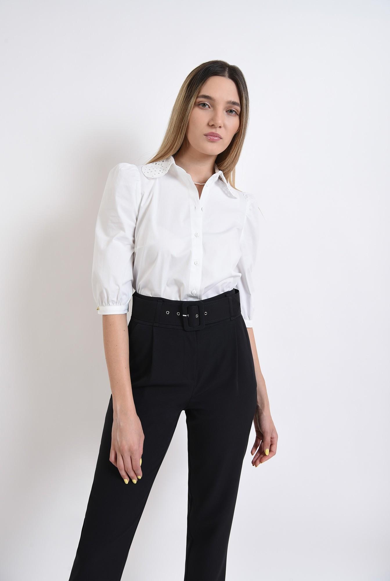 0 - pantaloni conici, office, cu centura, negri