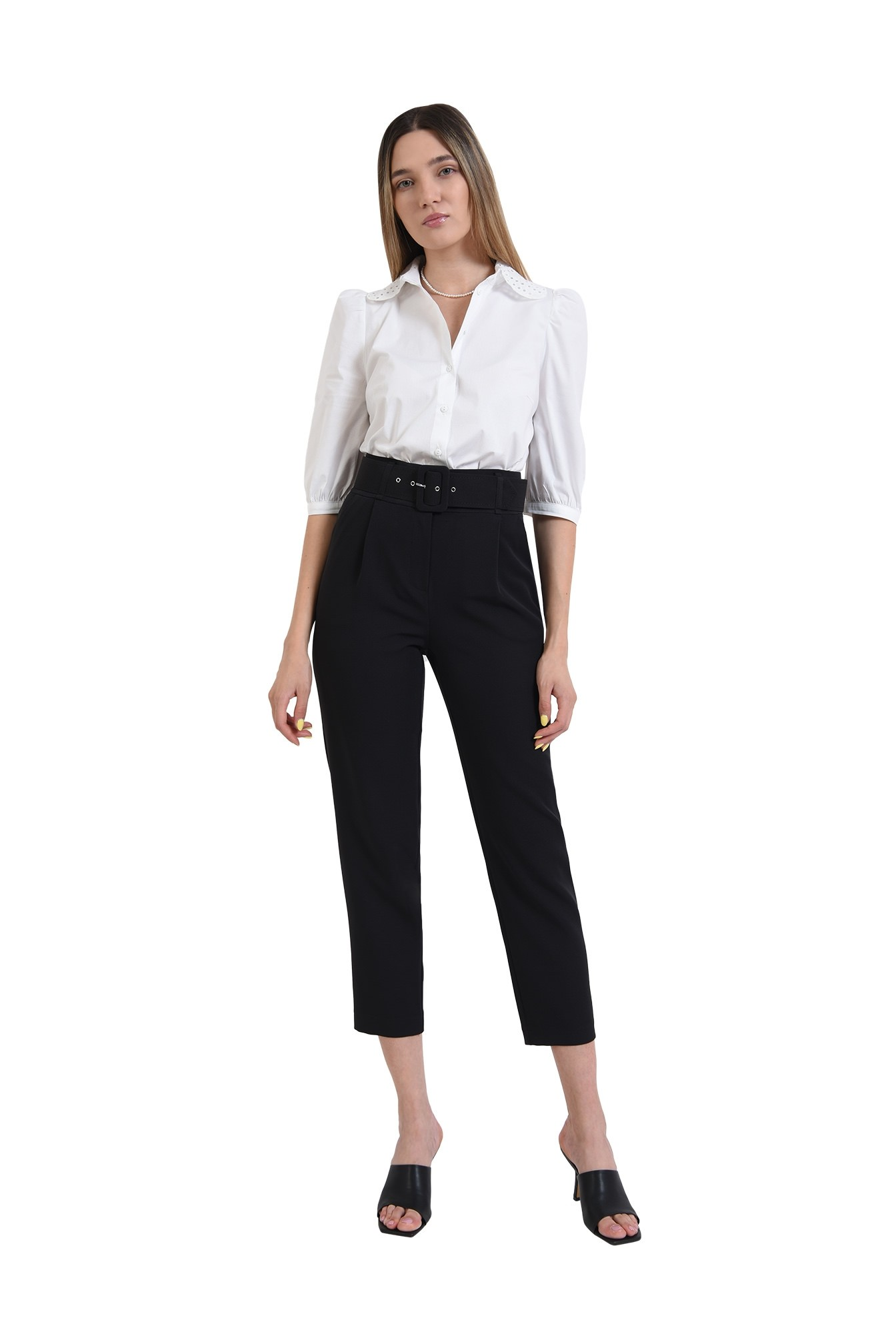 3 - pantaloni conici, office, cu centura, negri