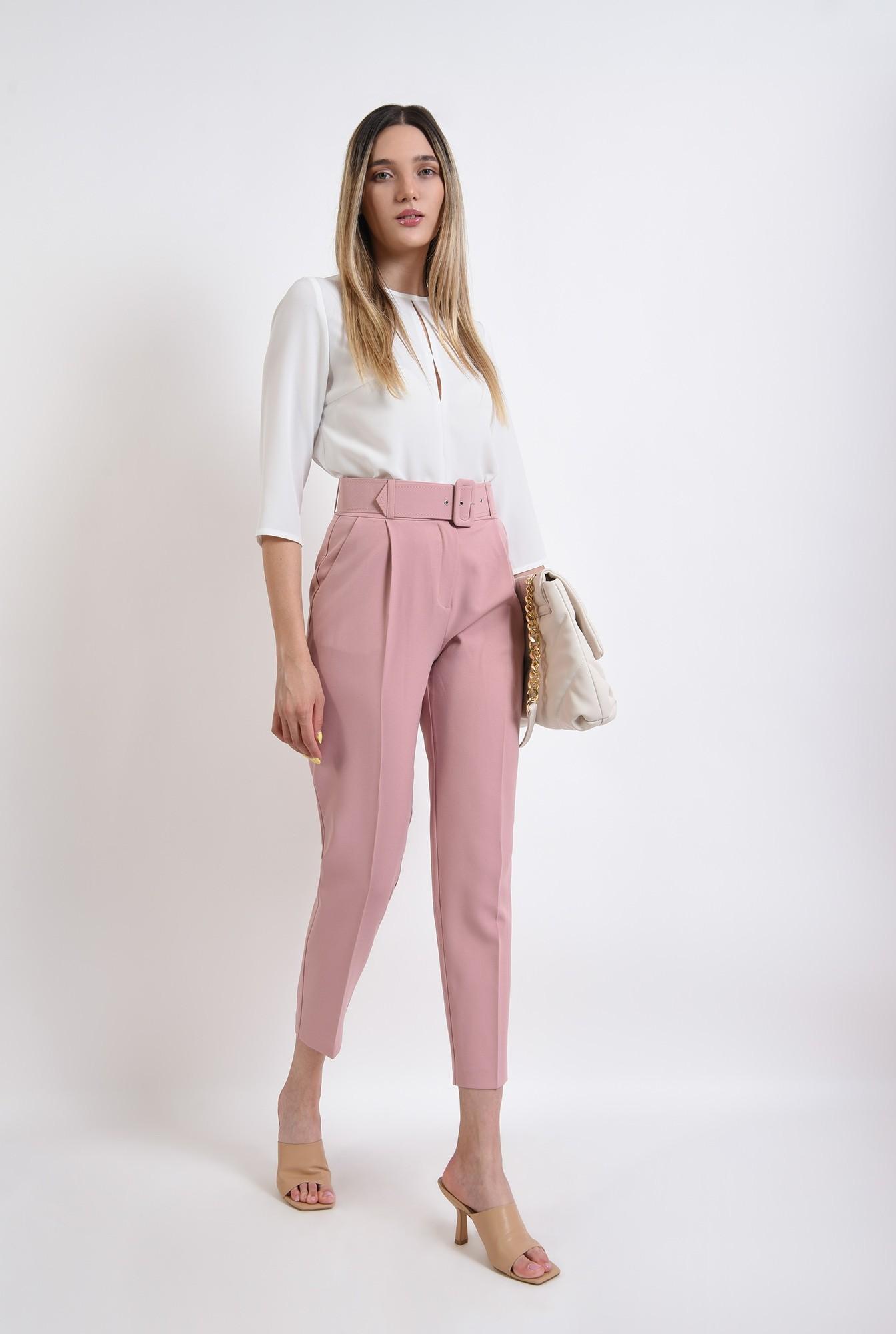 0 - pantaloni lungi, cu talie inalta, cu buzunare laterale