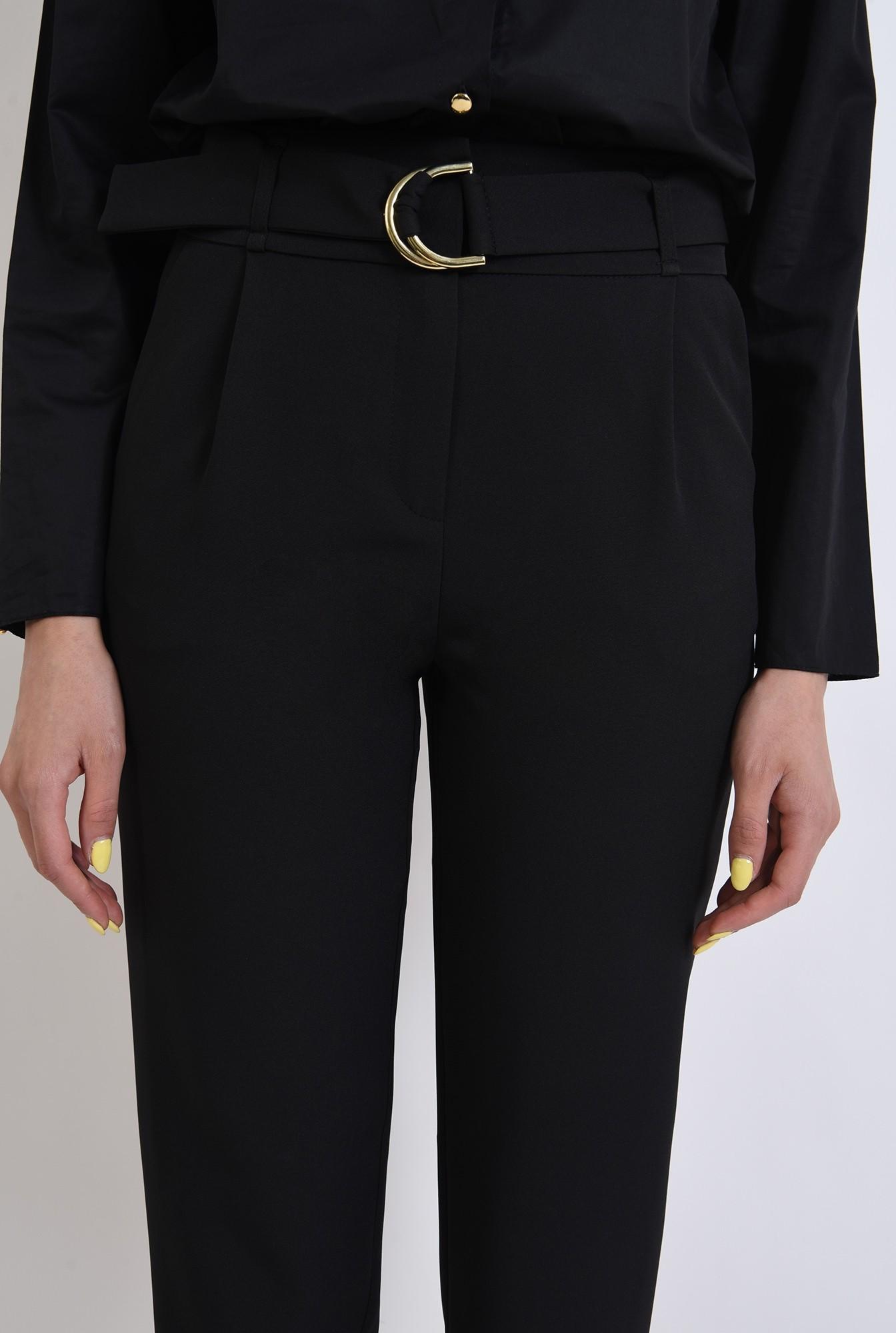 2 - pantaloni negri, poema, conici, curea