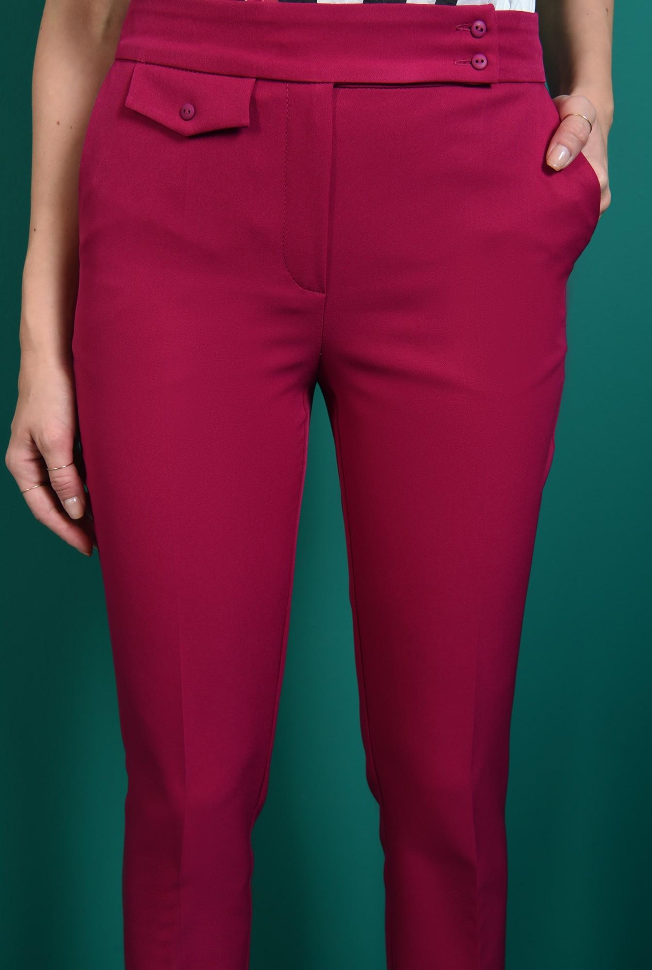 2 - pantaloni lungi, magenta, cu buzunar, Poema
