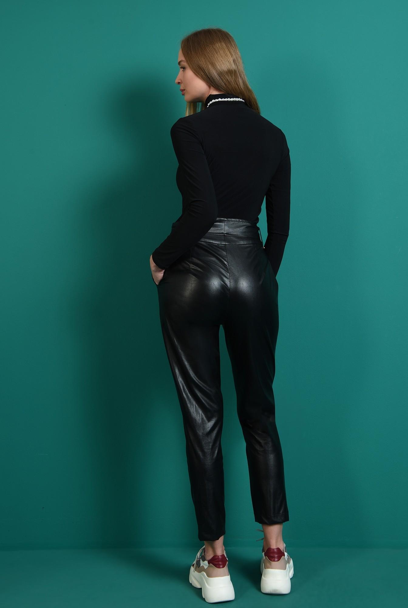 2 - pantaloni casual, negri, cu talie inalta