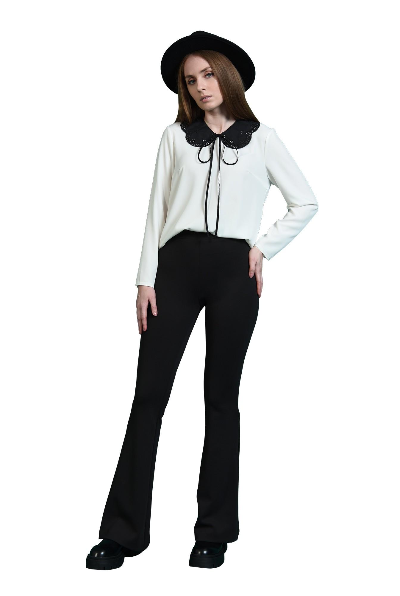 3 - pantaloni casual, negri, evazati