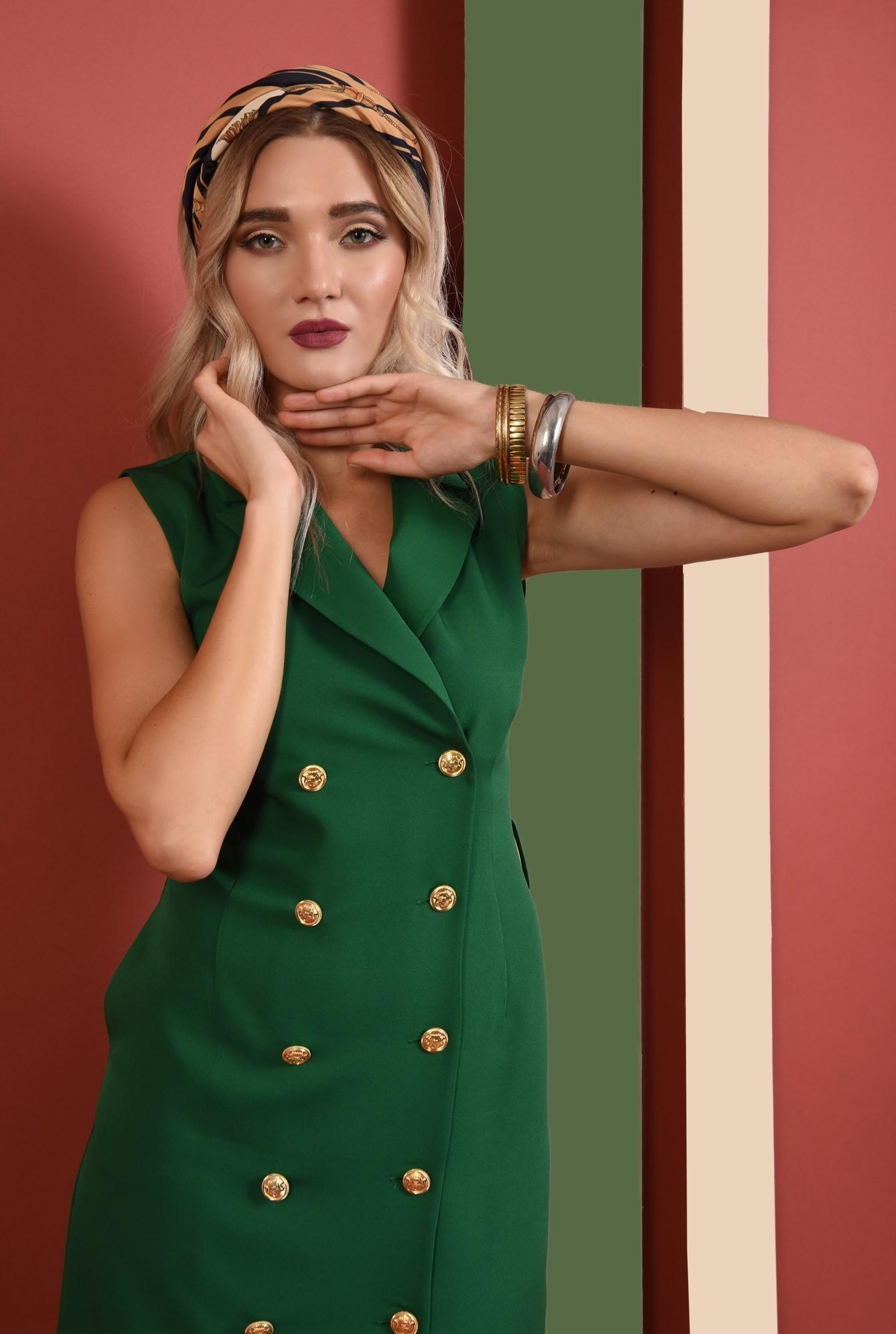 0 - rochie verde, sarafan, office, midi, cu revere, Poema