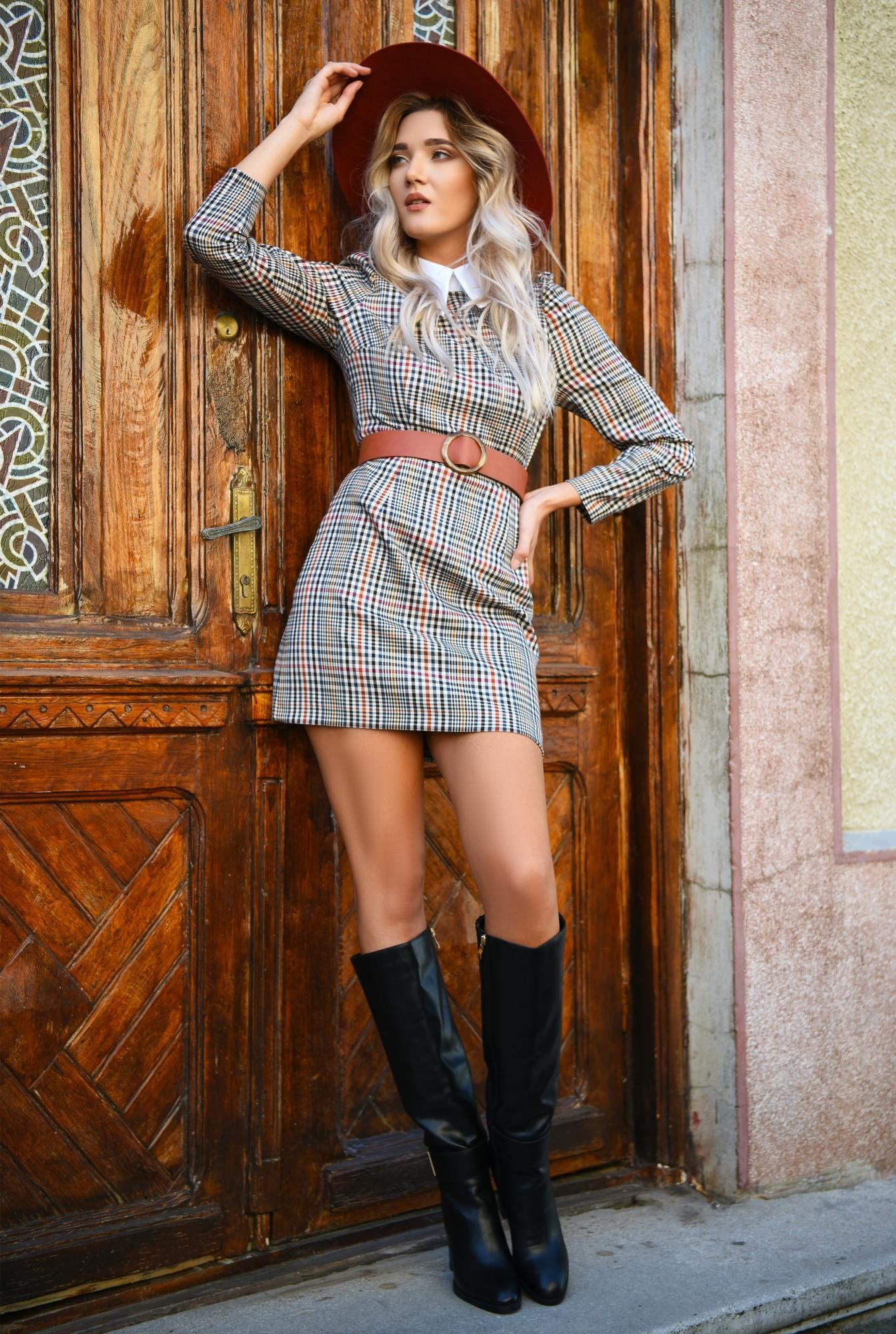 3 - rochie in carouri, cu guler, rochie de zi, scurta, cambrata