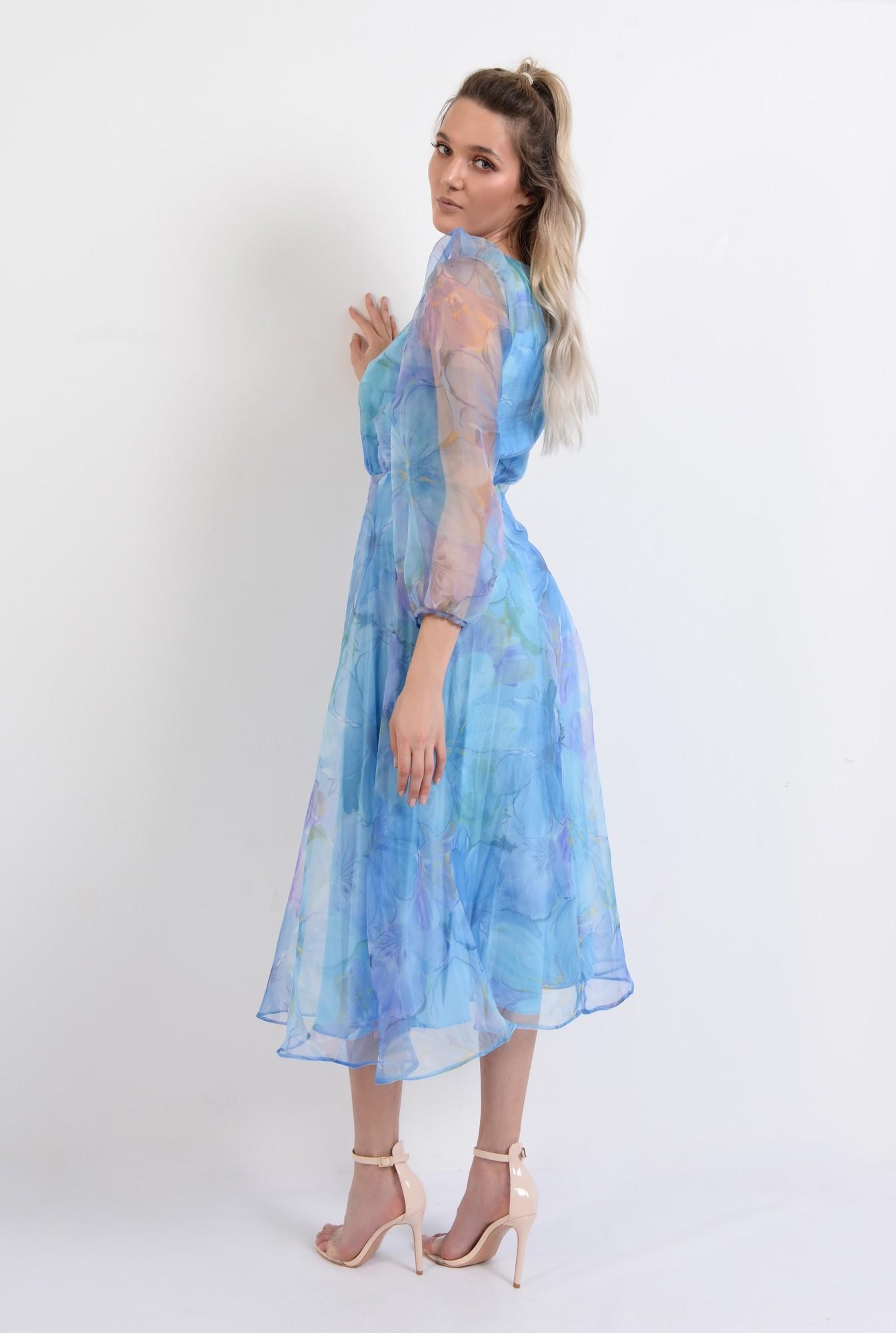 1 - rochie lunga, eleganta, din organza, maneci bufante, imprimeu floral