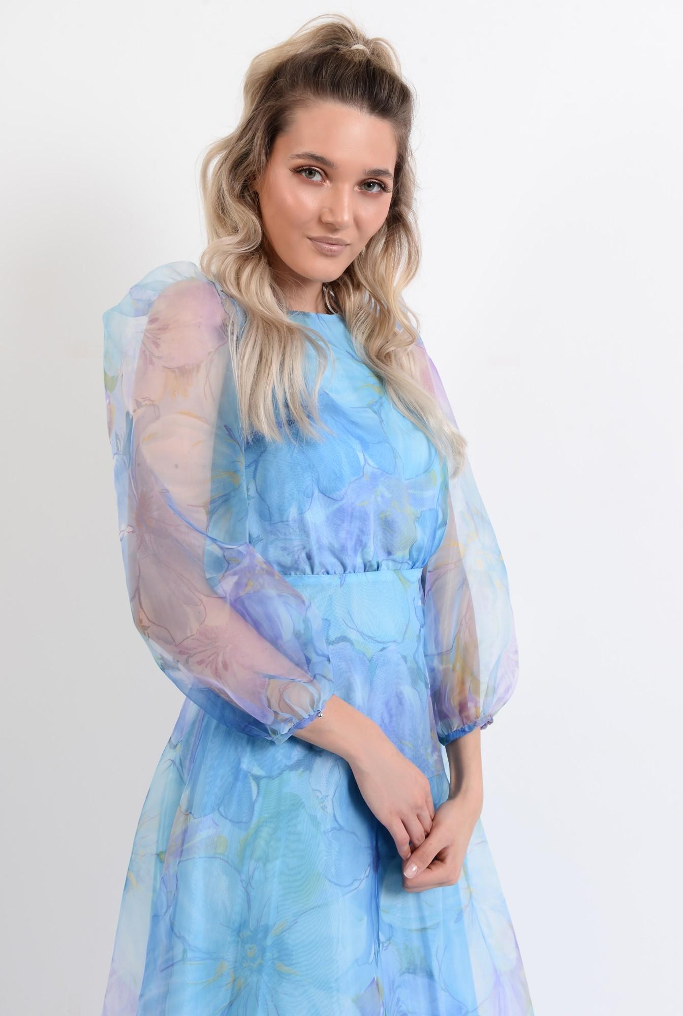 2 - rochie lunga, eleganta, din organza, maneci bufante, imprimeu floral