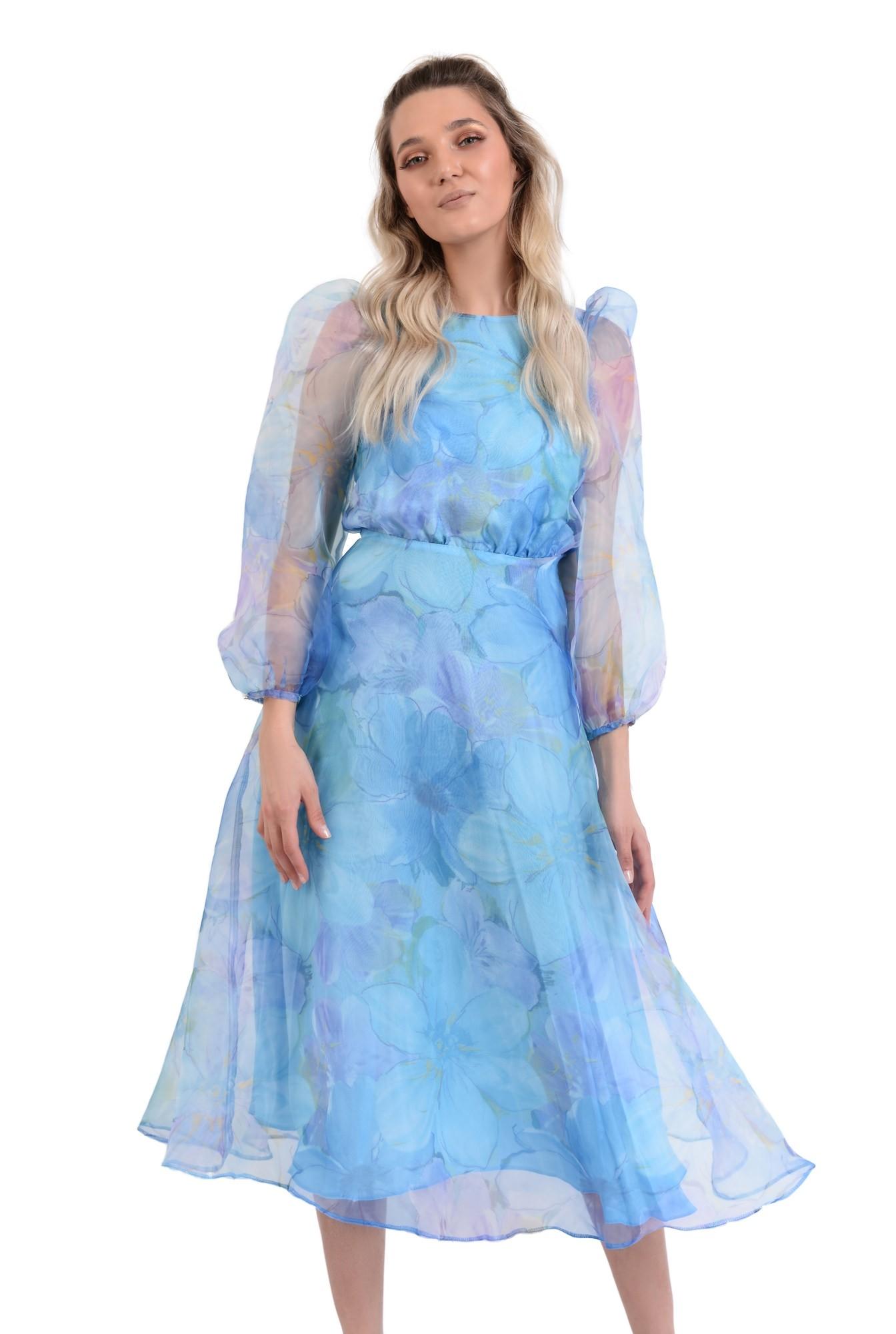 0 - rochie lunga, eleganta, din organza, maneci bufante, imprimeu floral