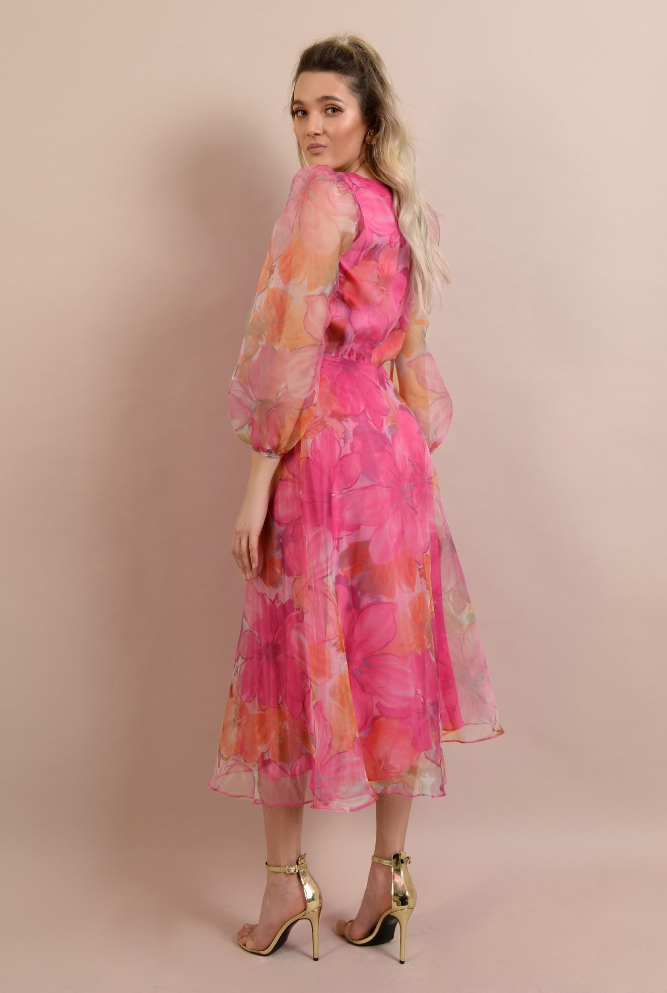 1 - rochie de ocazie, lunga, clos, organza cu print floral, maneci bufante, Poema