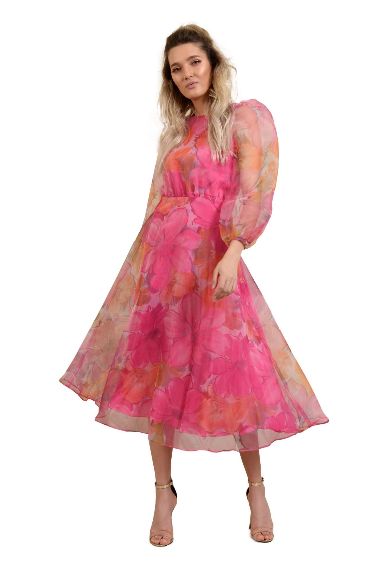3 - rochie de ocazie, lunga, clos, organza cu print floral, maneci bufante, Poema