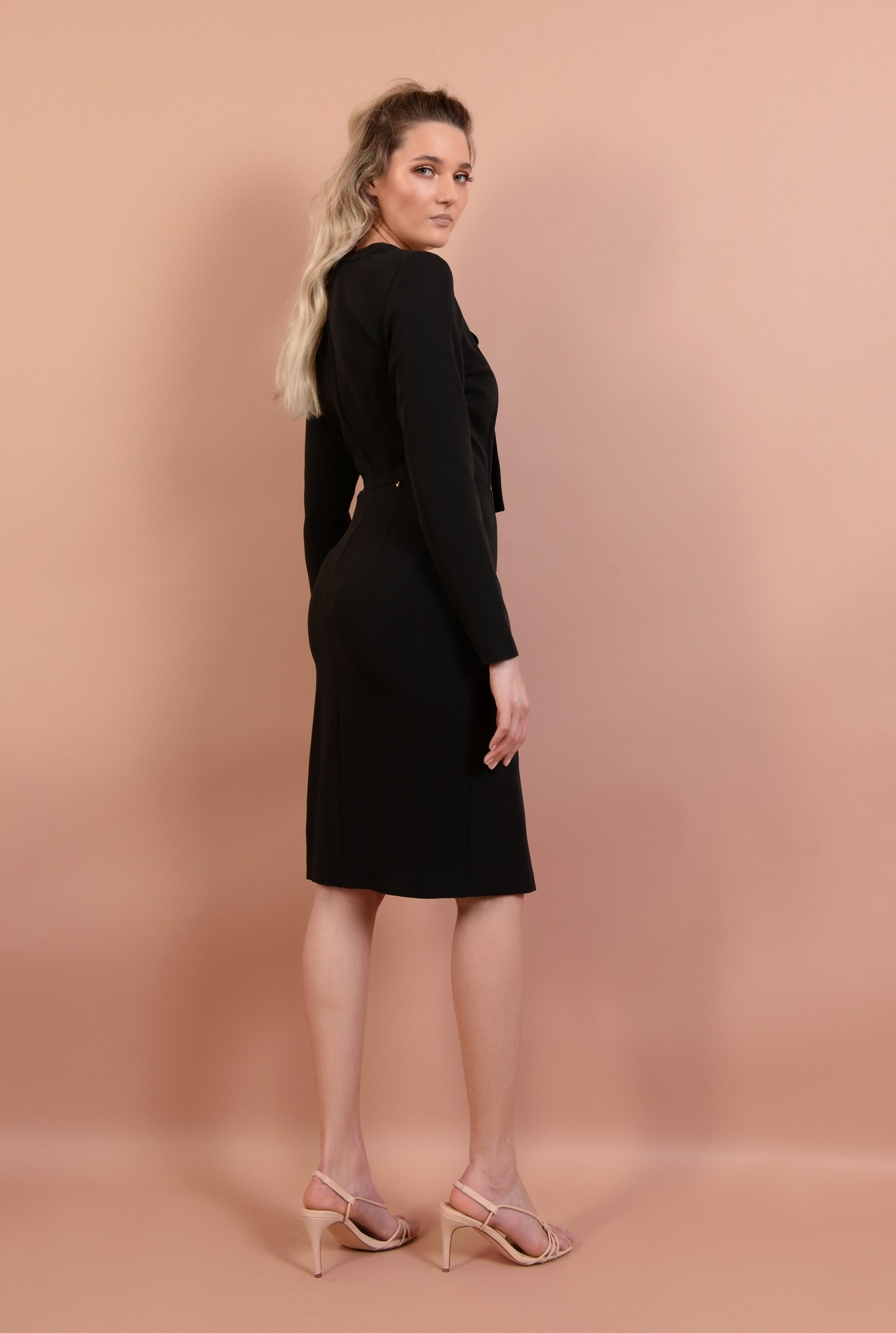 1 - 360 - rochie midi, ajustata, cu nasturi, maneci lungi, cu funda, Poema, negru