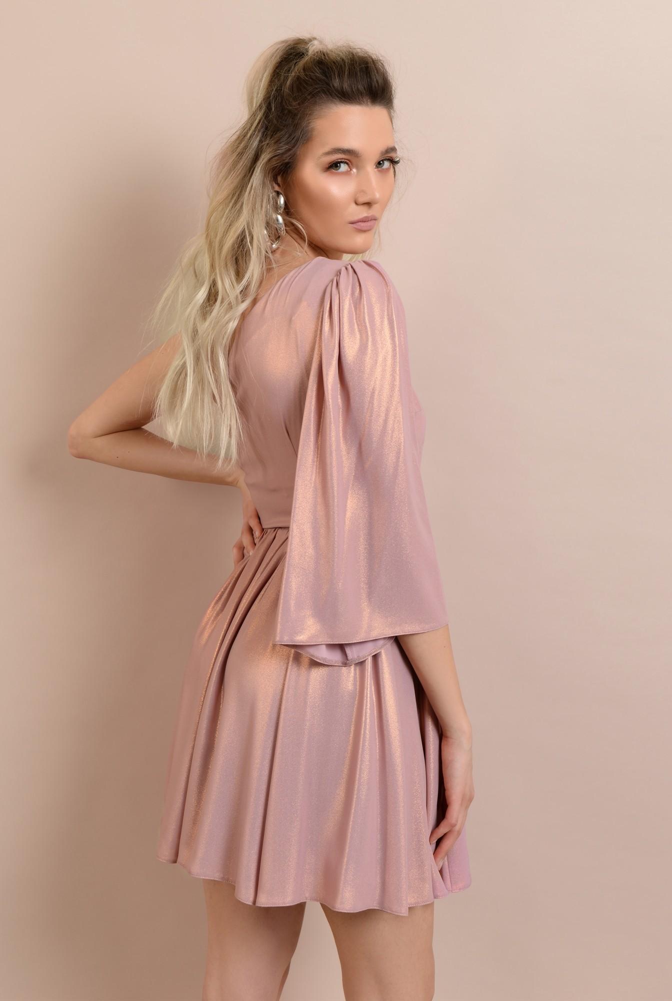 1 -  rochie de ocazie, cu o maneca, decolteu asimetric, clos, catarama decorativa, roz