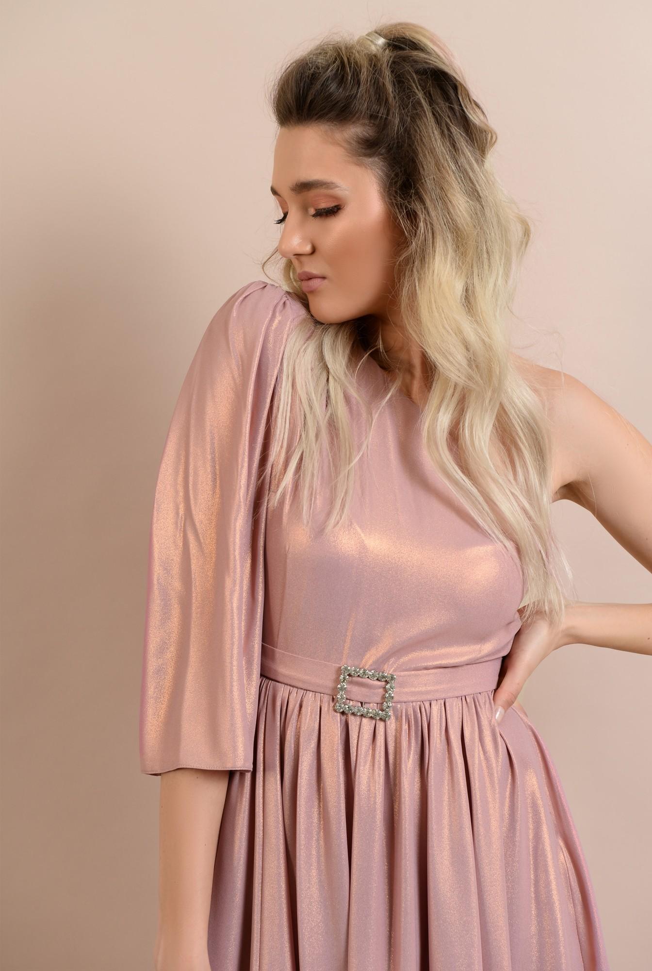2 -  rochie de ocazie, cu o maneca, decolteu asimetric, clos, catarama decorativa, roz