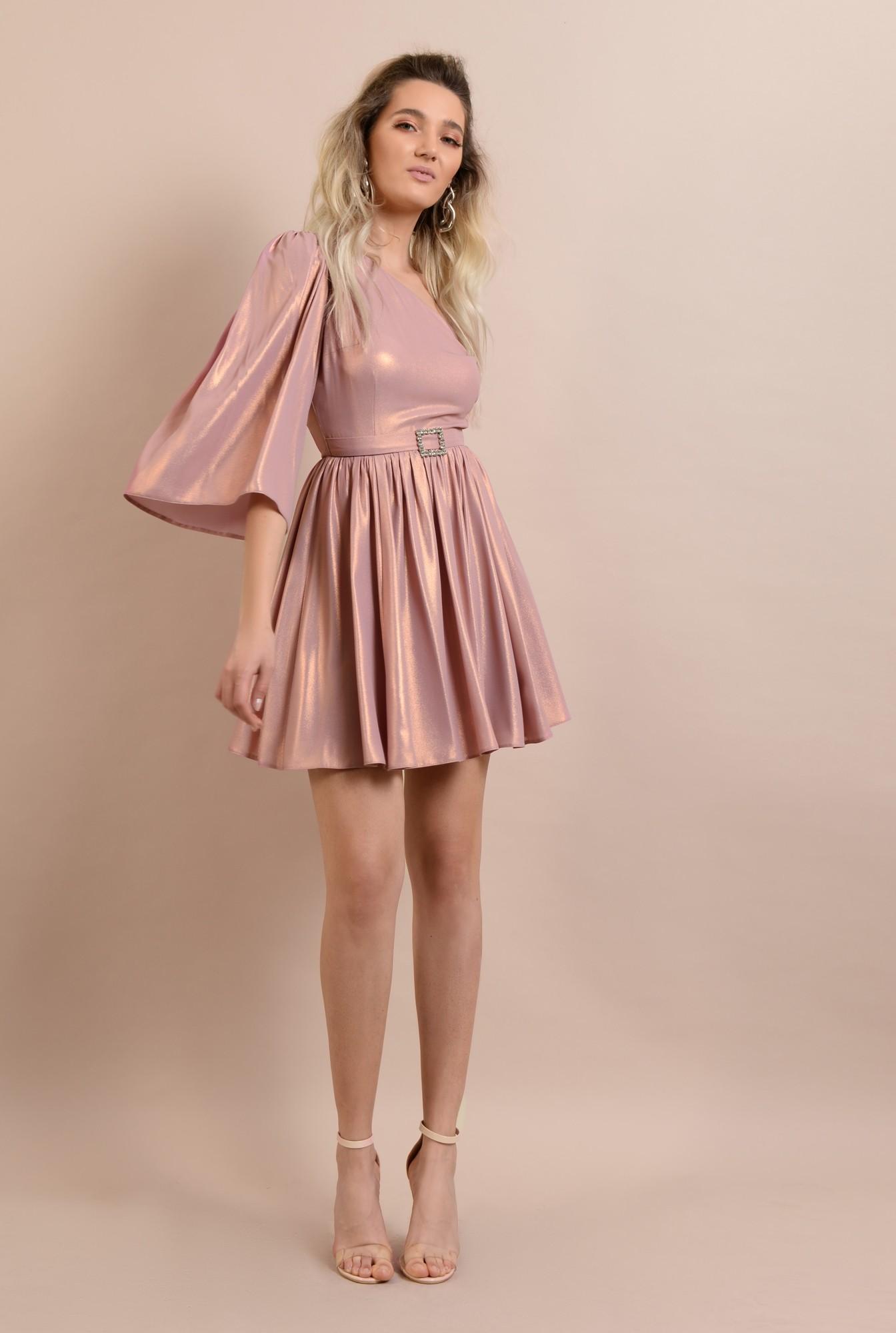 3 -  rochie de ocazie, cu o maneca, decolteu asimetric, clos, catarama decorativa, roz
