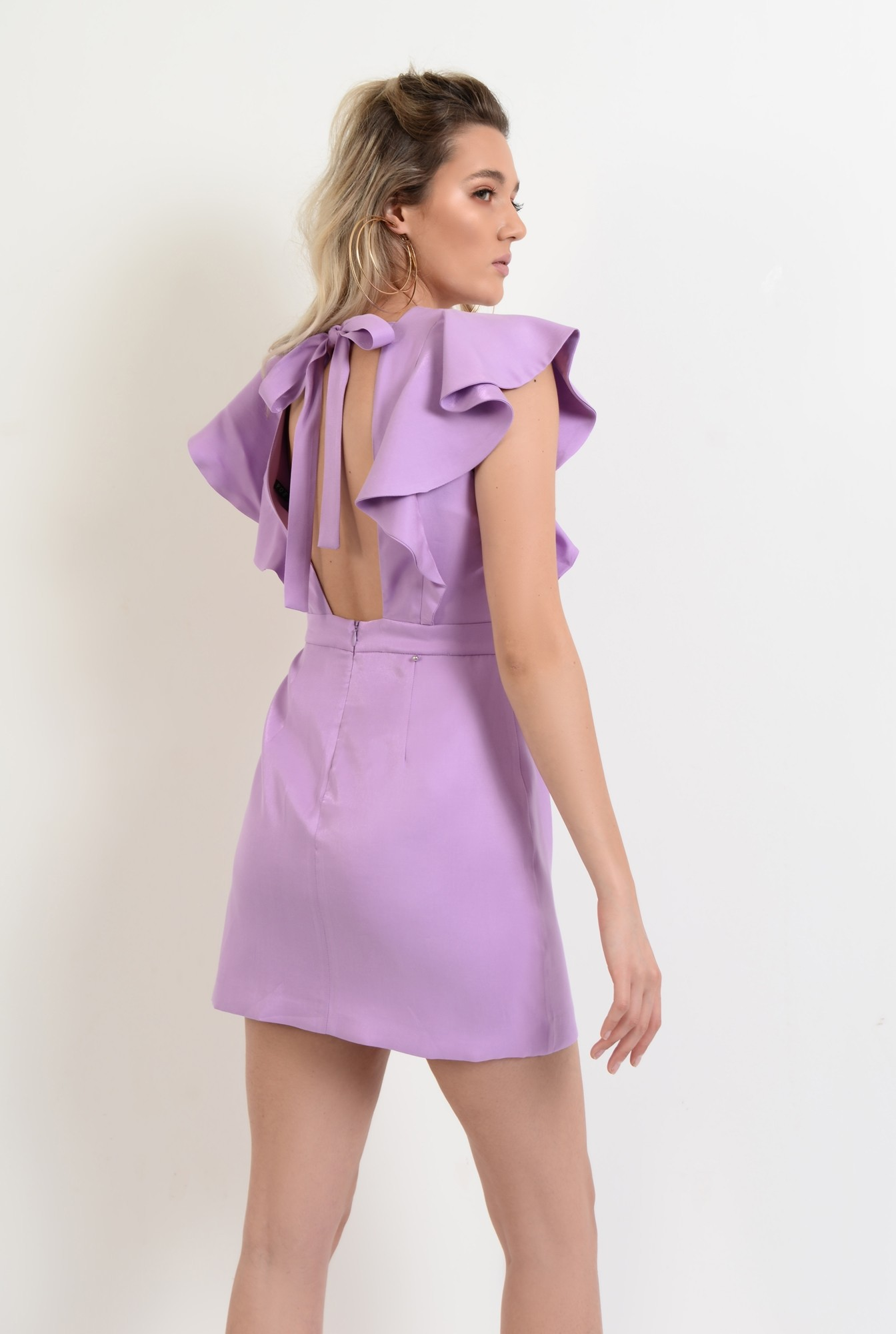 1 - 360 - rochie scurta, mini, cu volane, funda la spate, anchior, lila