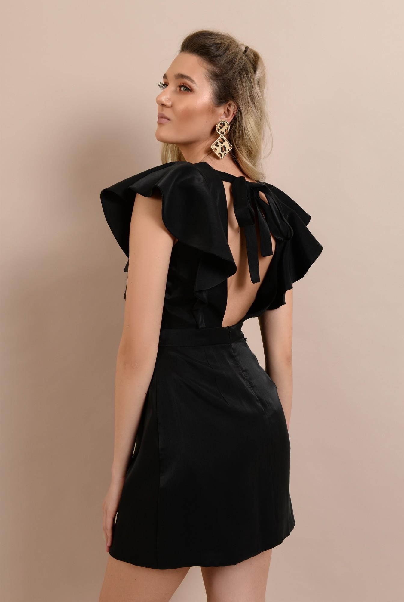 1 - rochie scurta, mini, cu volane, funda la spate, anchior