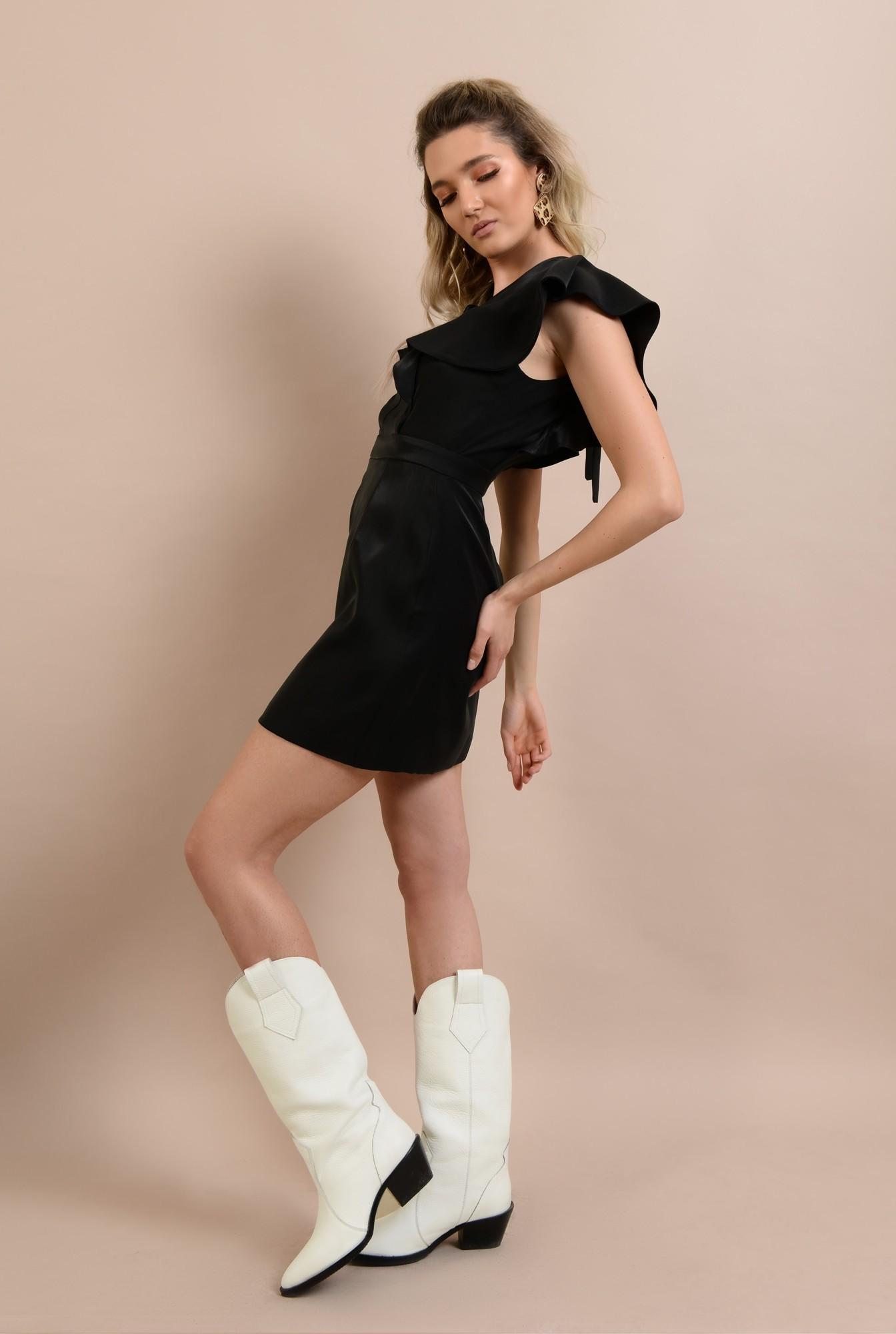 3 - rochie scurta, mini, cu volane, funda la spate, anchior