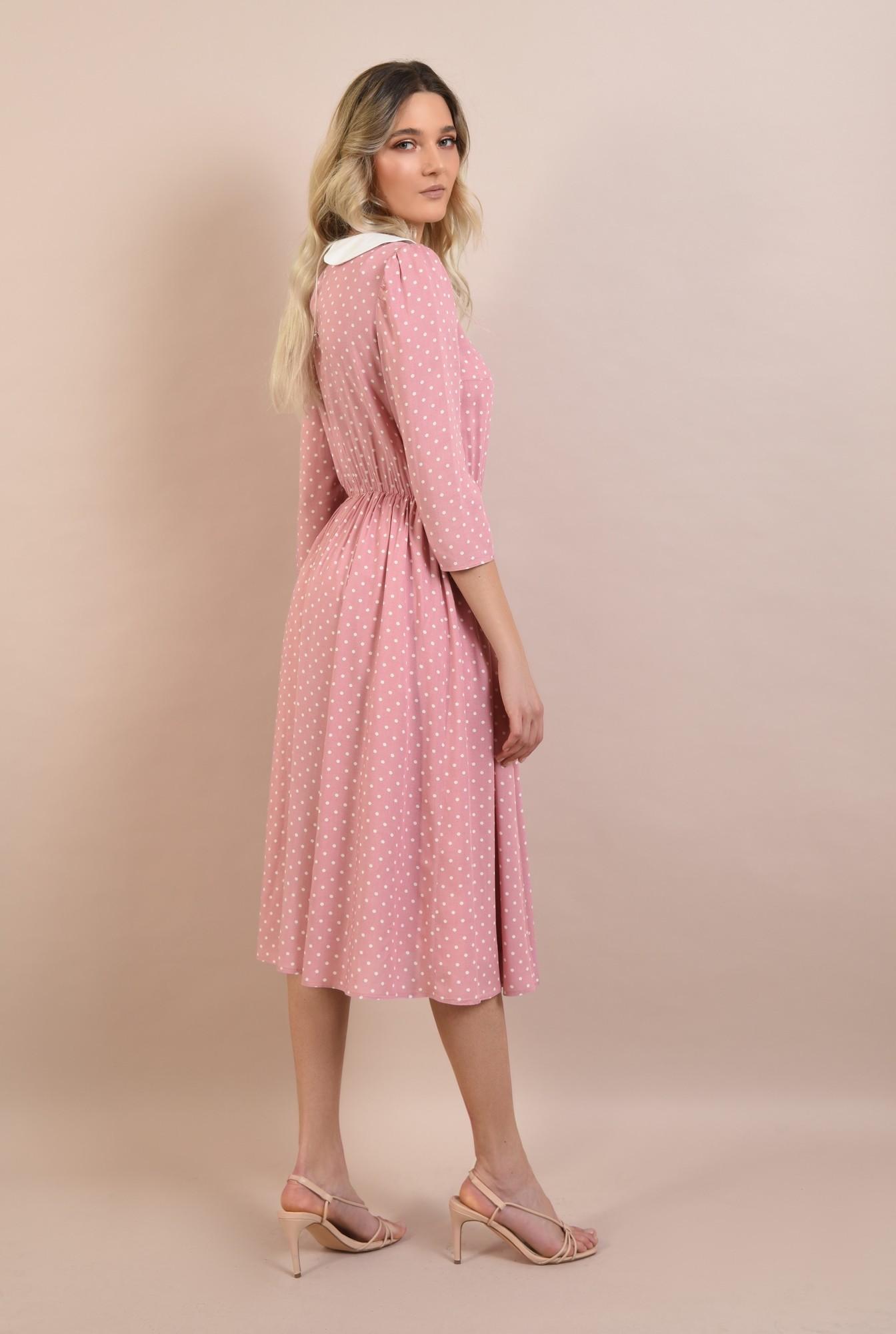 1 -  rochie cu buline, casual, de zi, rochie de vara, cu guler