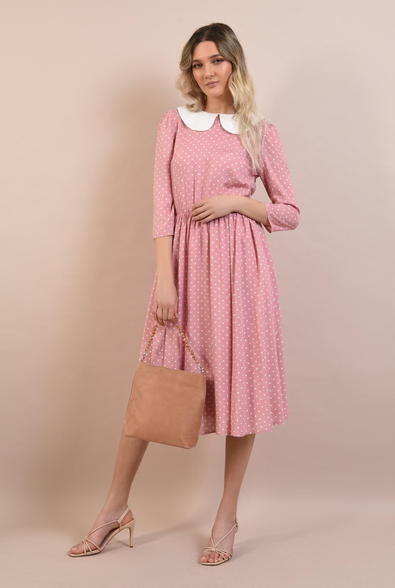 3 -  rochie cu buline, casual, de zi, rochie de vara, cu guler