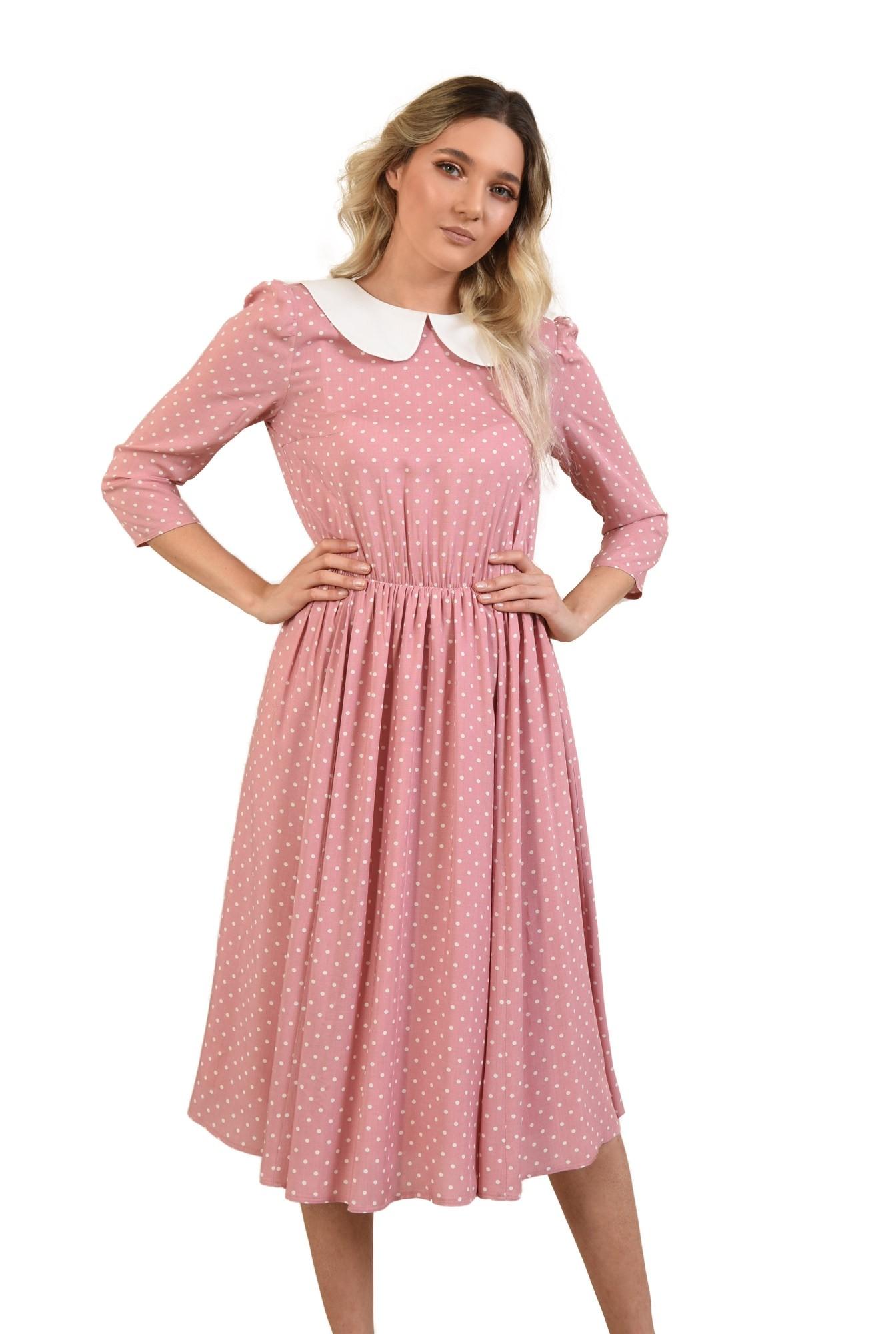0 -  rochie cu buline, casual, de zi, rochie de vara, cu guler