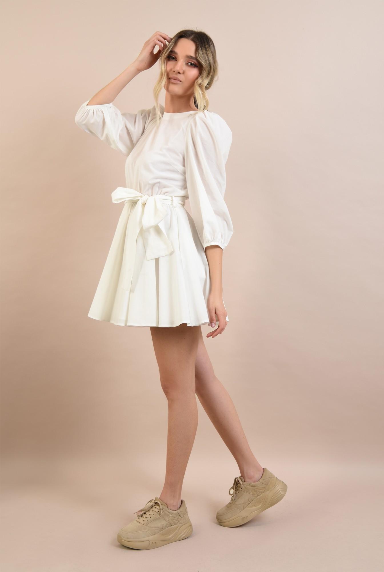 3 -  rochie casual, clos, scurta, cu cordon, maneci bufante, alb
