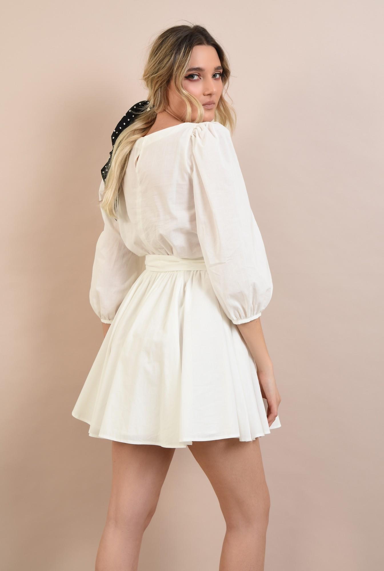 1 -  rochie casual, clos, scurta, cu cordon, maneci bufante, alb
