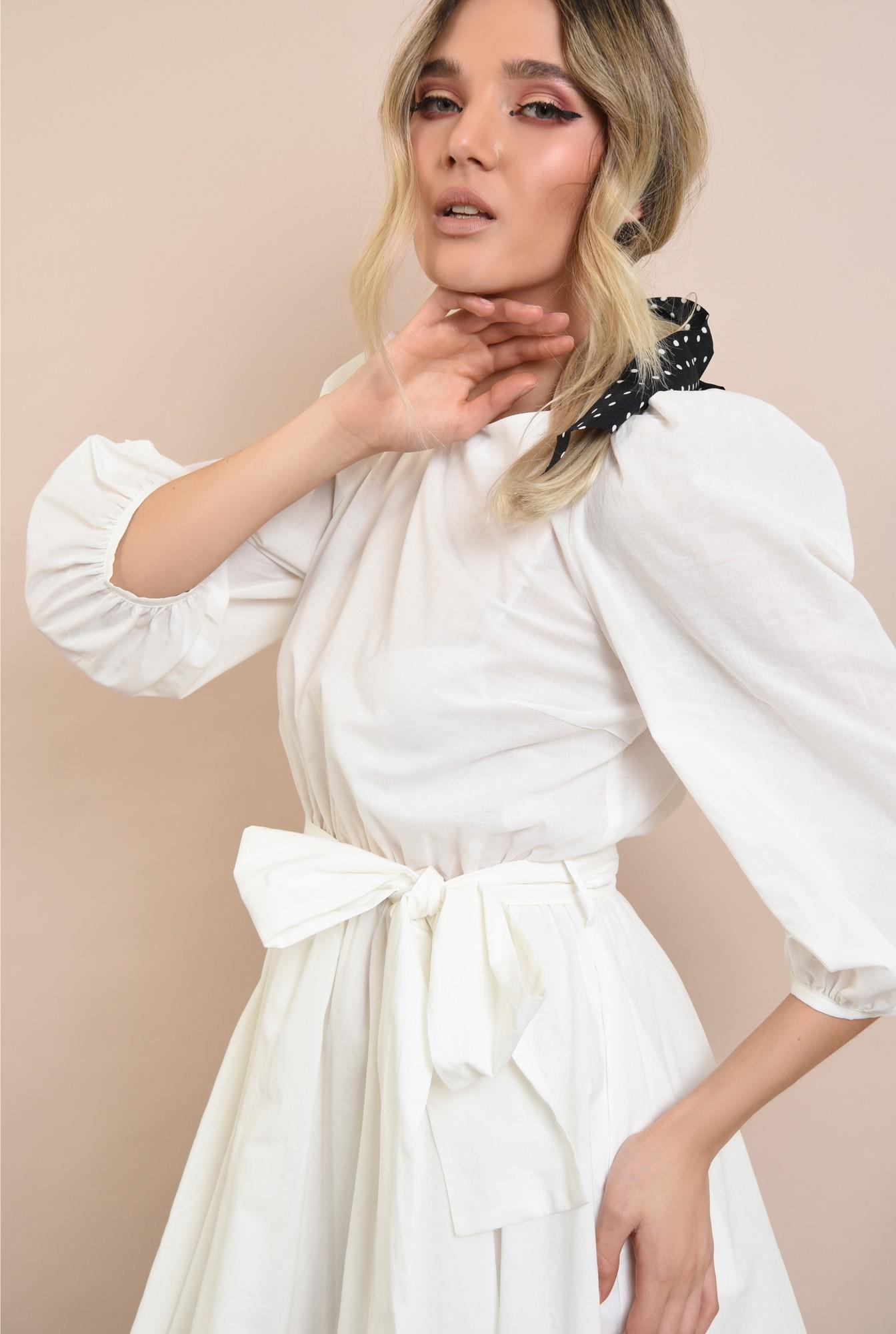 2 -  rochie casual, clos, scurta, cu cordon, maneci bufante, alb