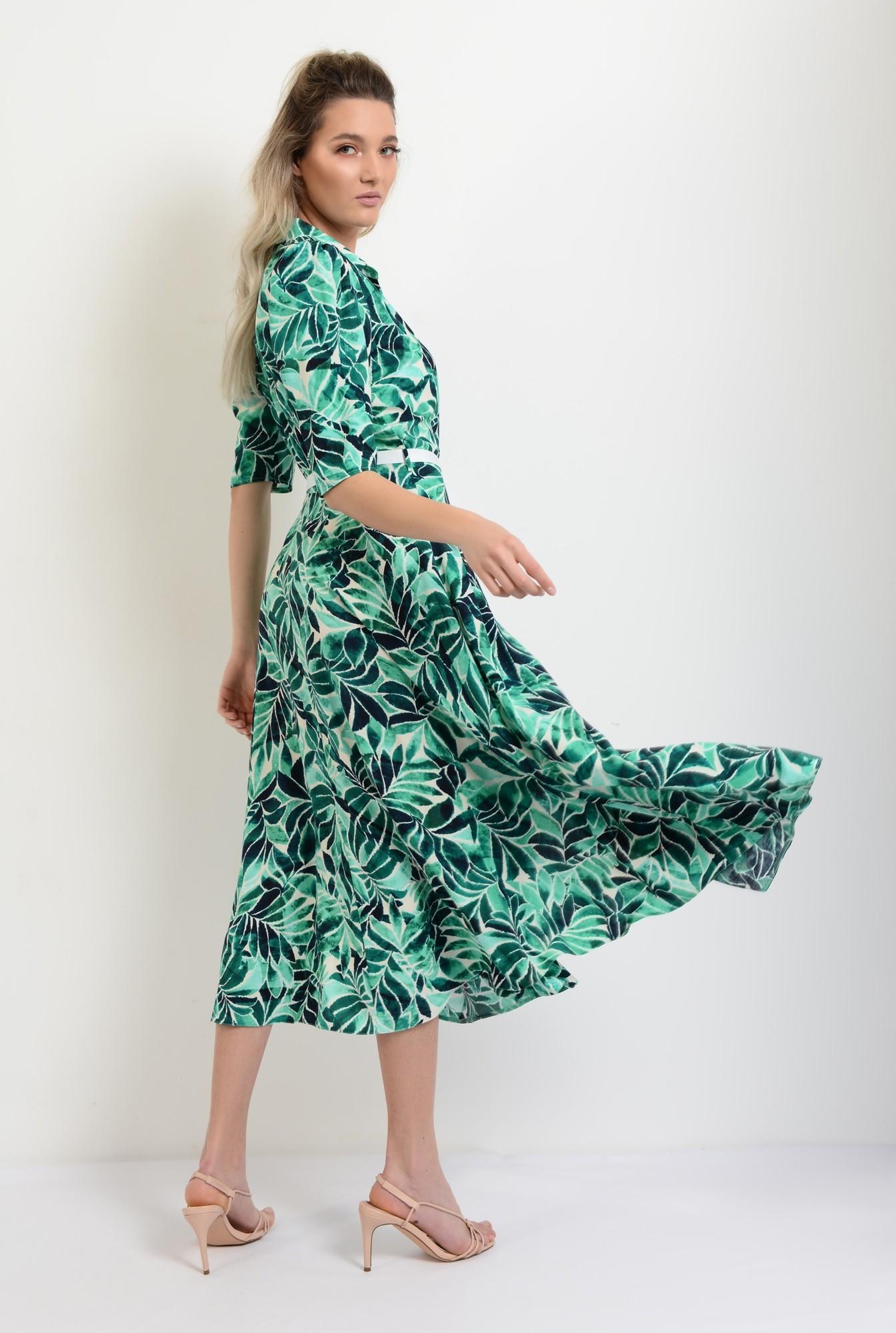 1 - rochie de vara, midi, evazata, cu print, cu cordon in contrast