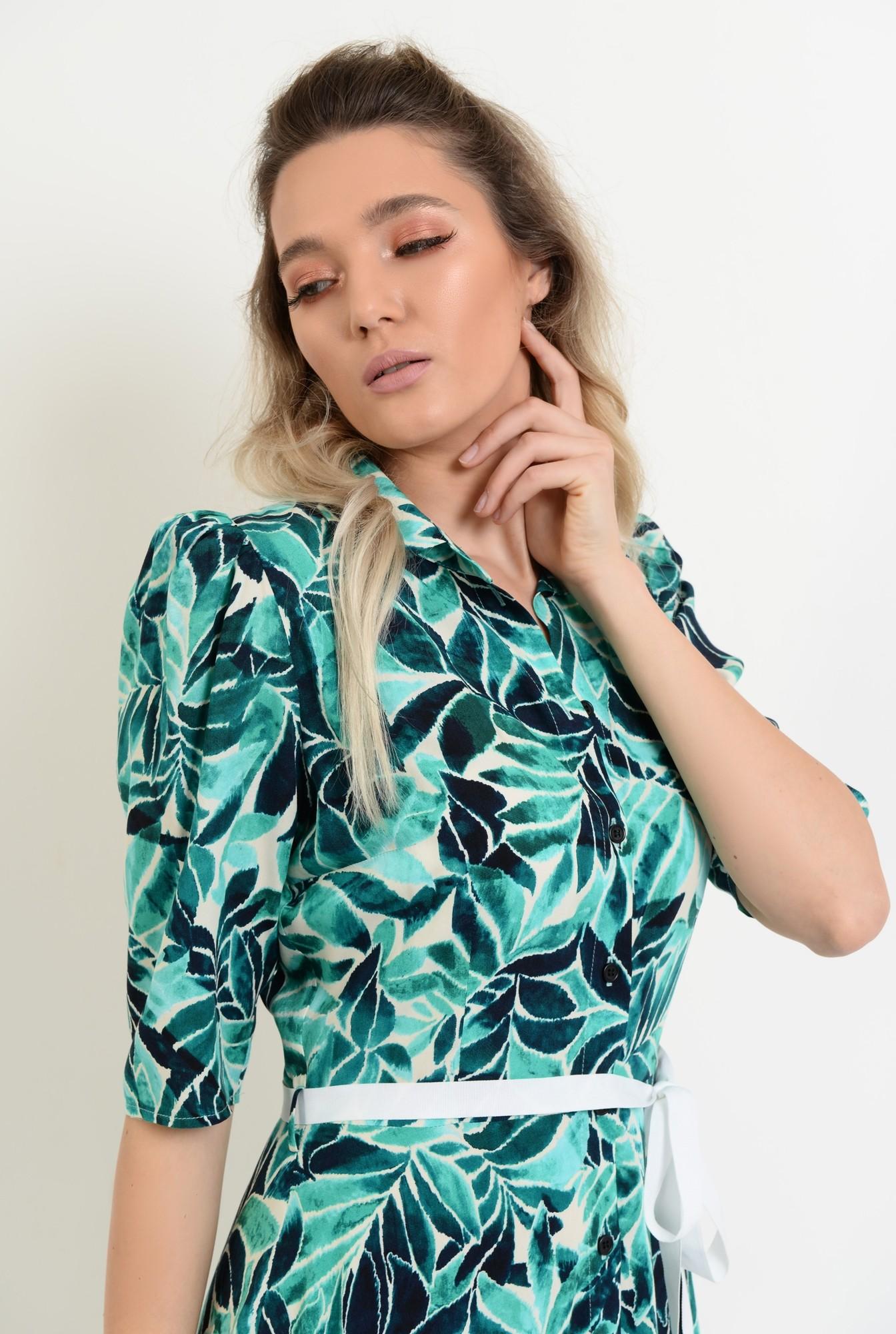 2 - rochie de vara, midi, evazata, cu print, cu cordon in contrast