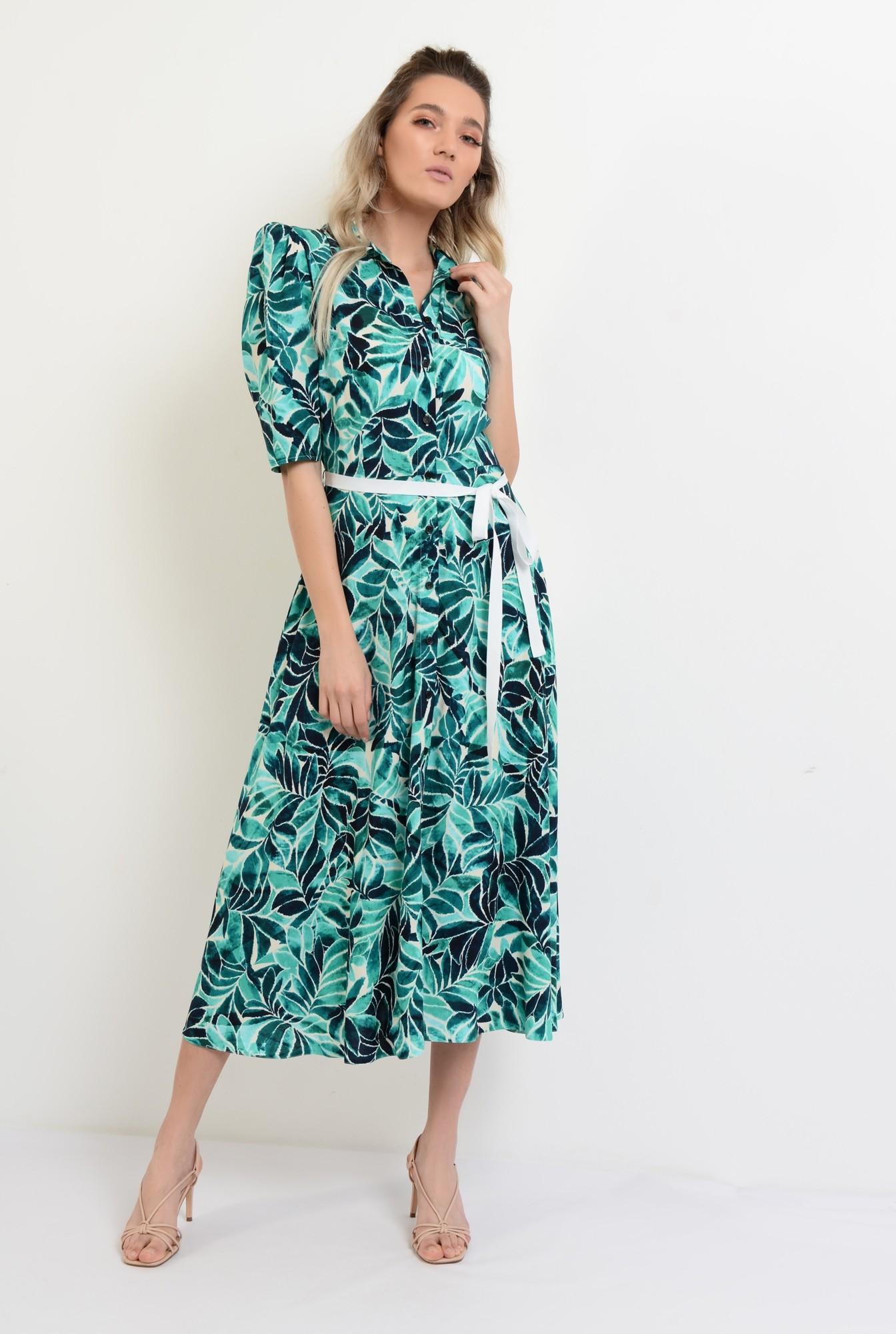 3 - rochie de vara, midi, evazata, cu print, cu cordon in contrast