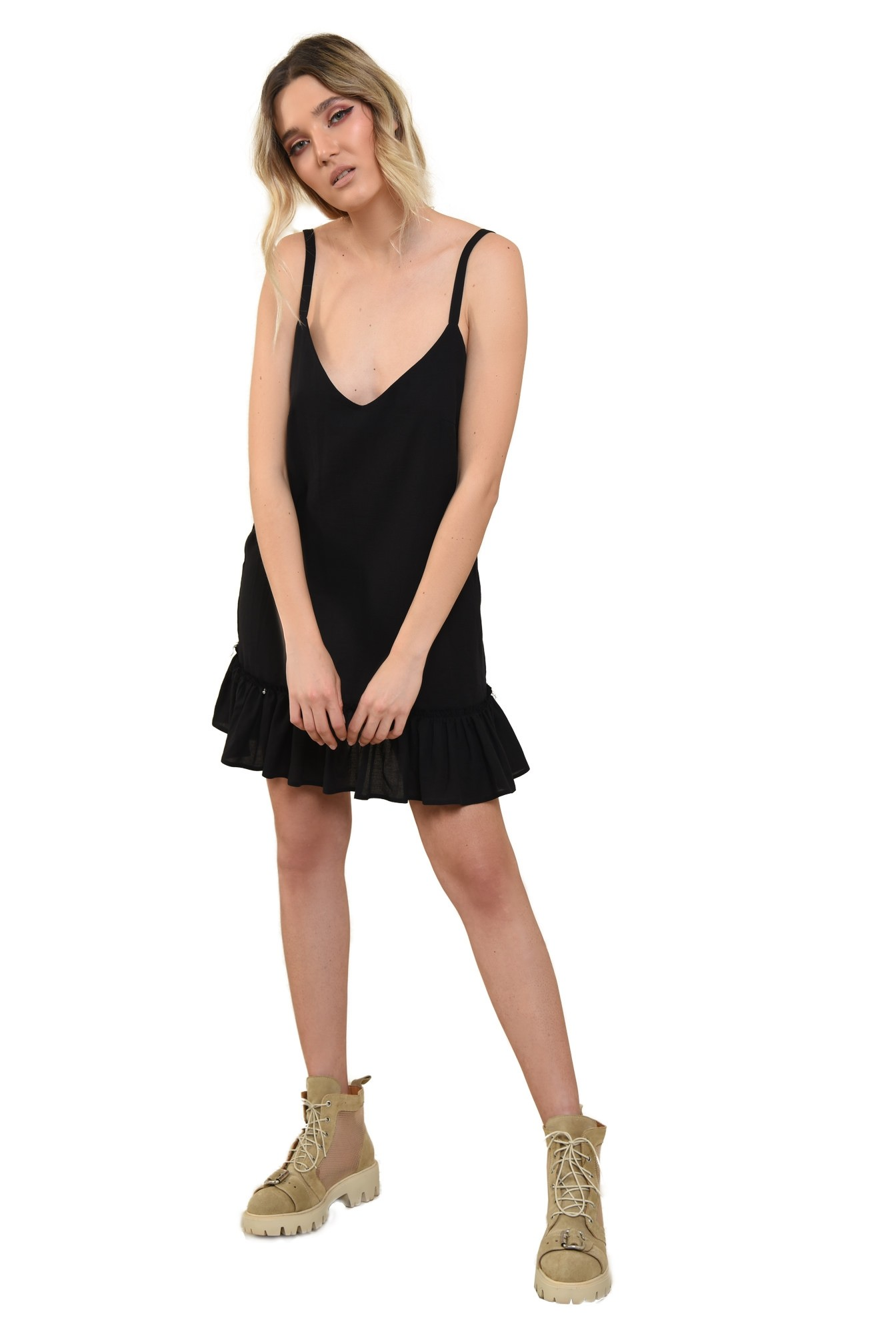 3 - 360 -  rochie lejera, cu bretele fine, evazata, scurta, rochie de vara