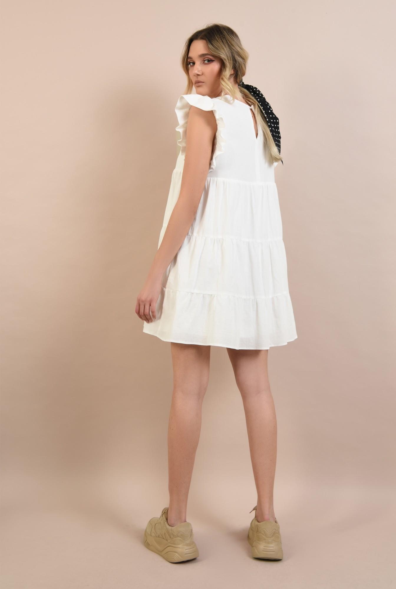 1 -  rochie babydoll, cu maneci volan, evazata, scurta, rochie de vara