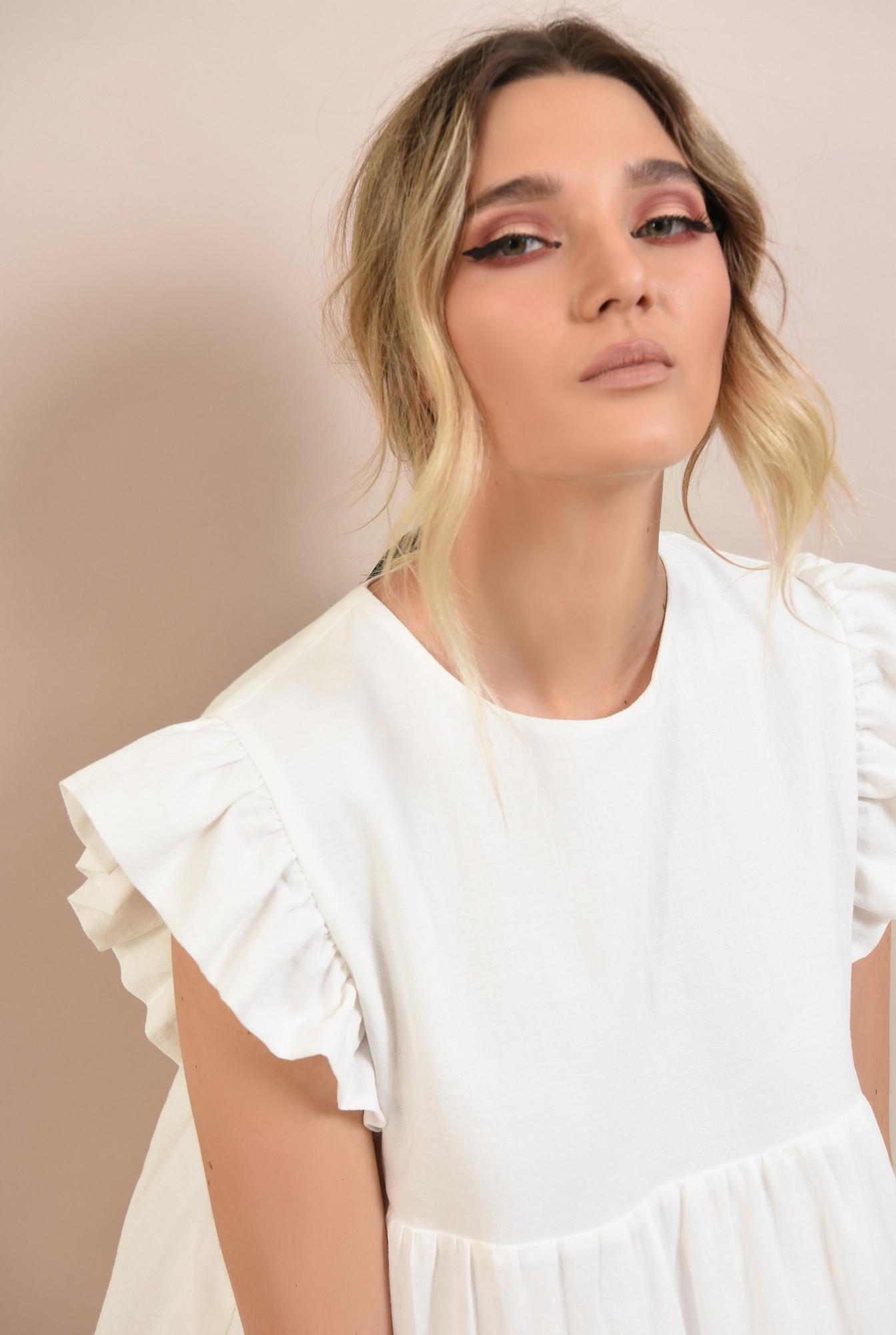 2 -  rochie babydoll, cu maneci volan, evazata, scurta, rochie de vara