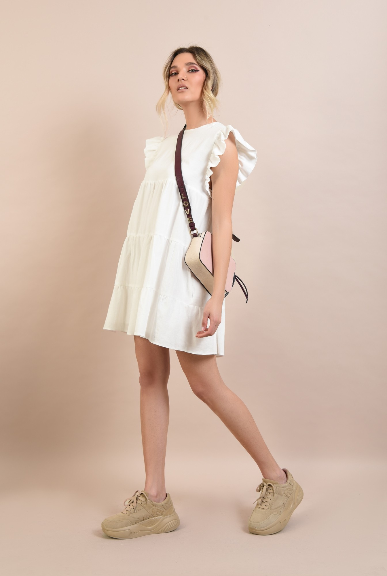 3 -  rochie babydoll, cu maneci volan, evazata, scurta, rochie de vara