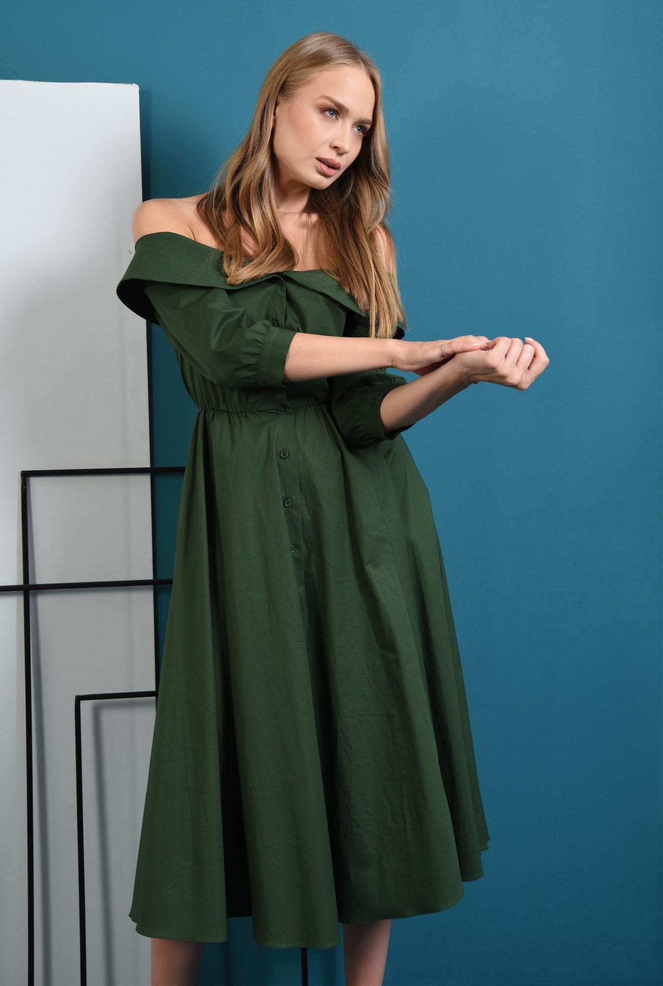 0 - 360 - rochie verde midi, evazata, Poema