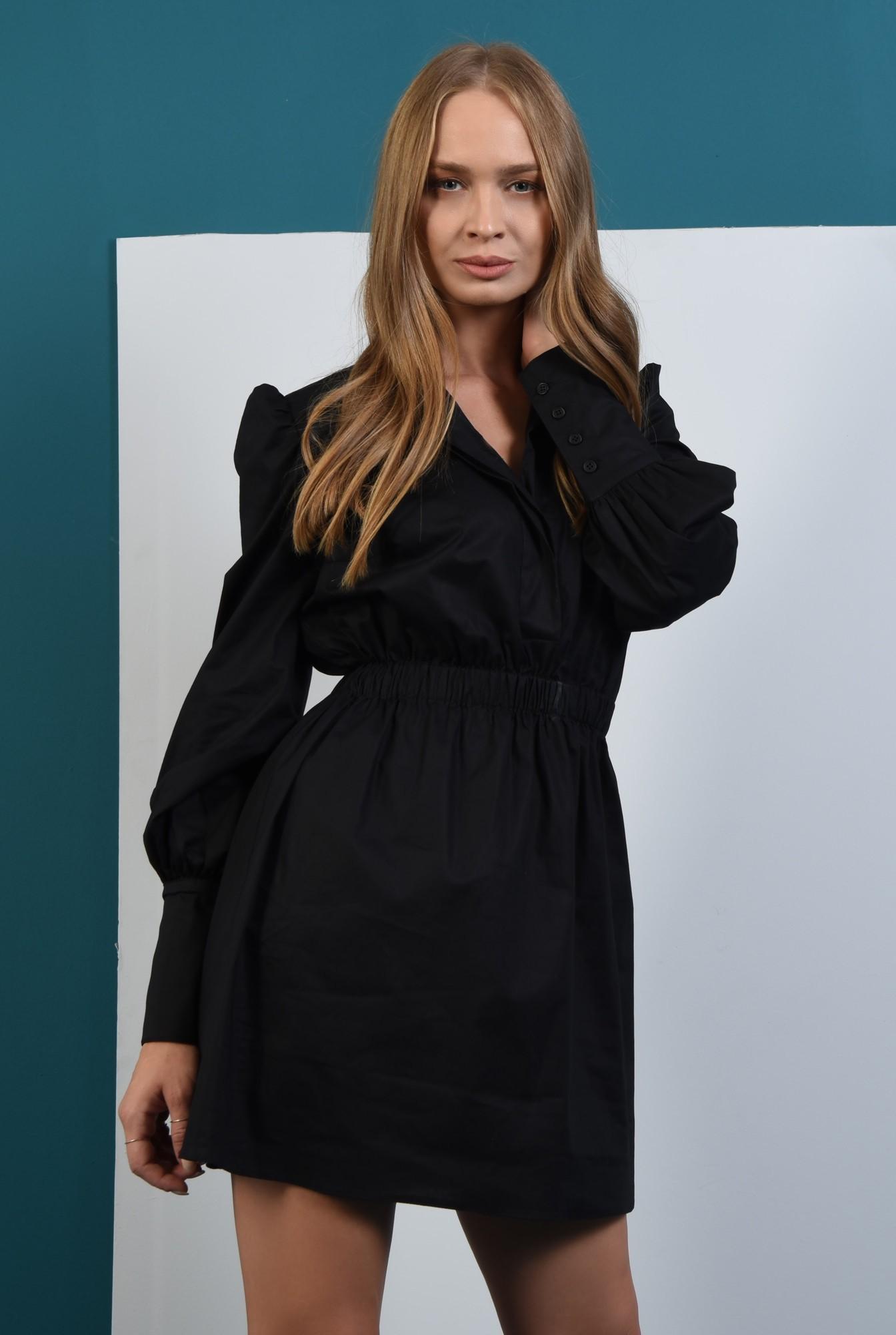 1 - rochie tunica, neagra, Poema, maneci lungi, bufante