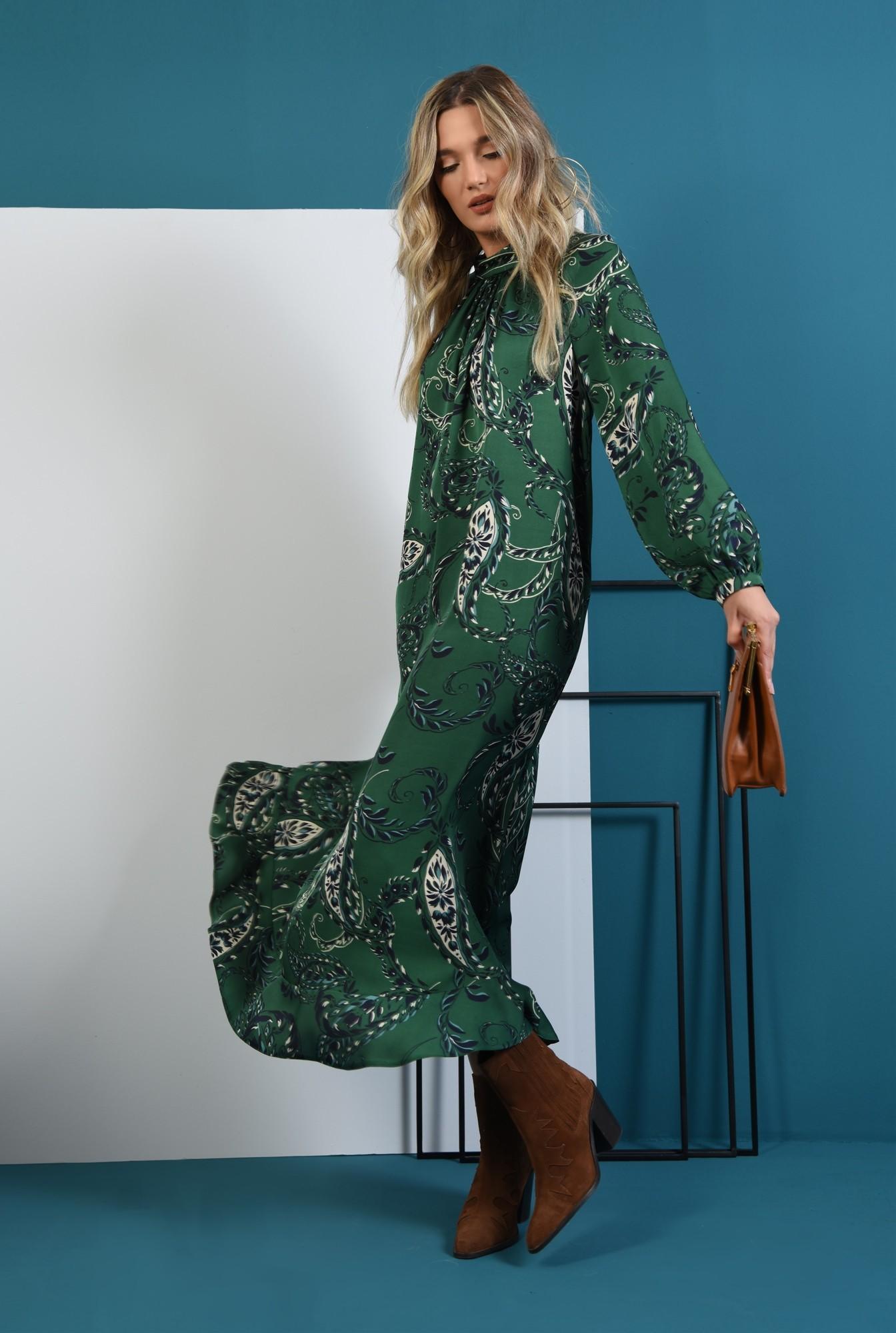 0 - 360 - rochie lunga verde, cu imprimeu, Poema