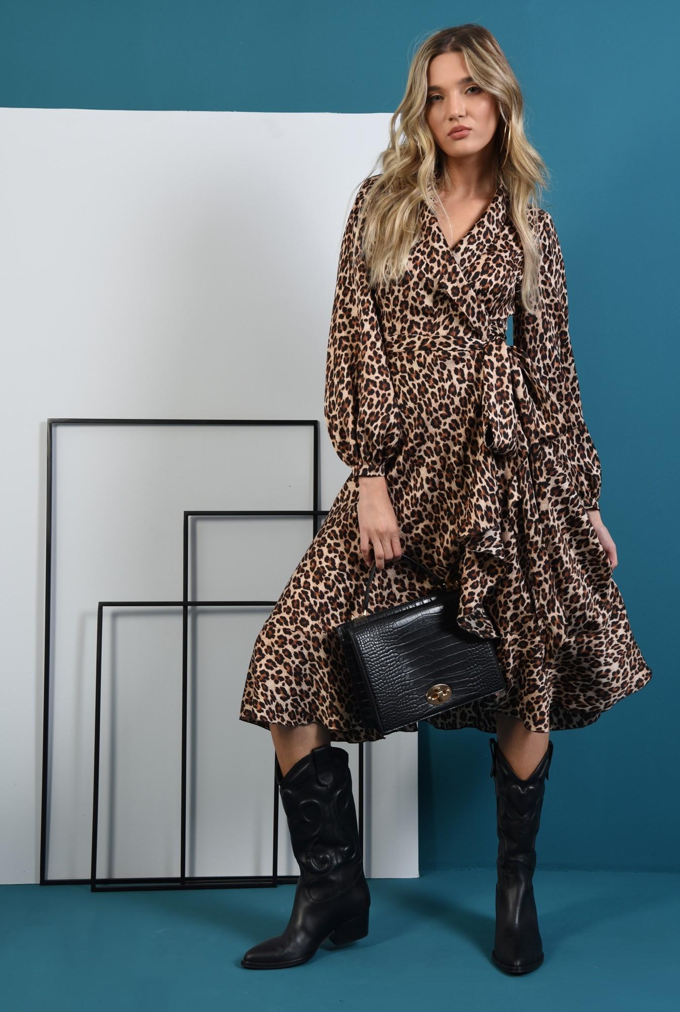 0 - rochie midi, cu imprimeu leopard, cu maneca lunga