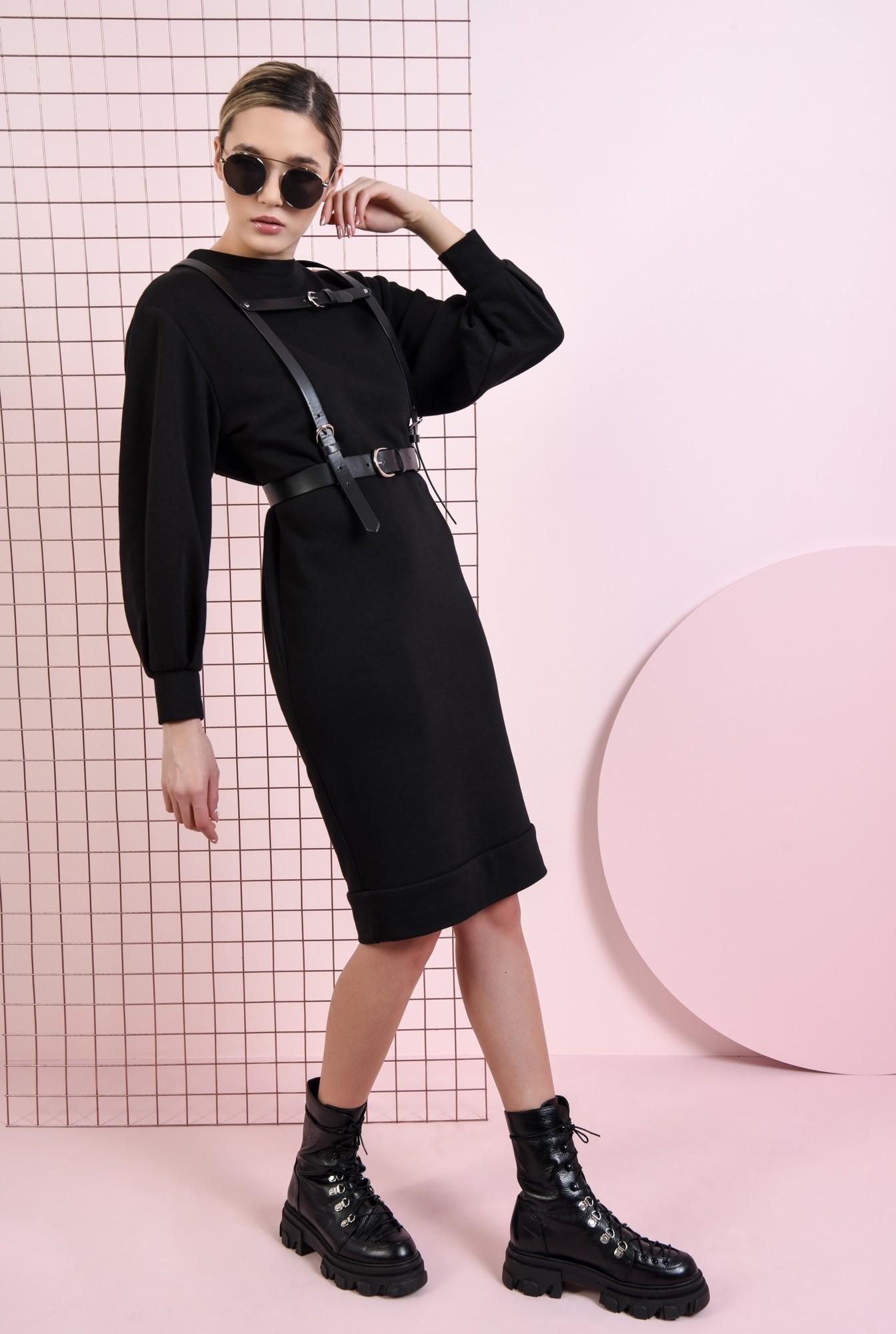 0 - rochie casual, neagra, cu maneca bufanta