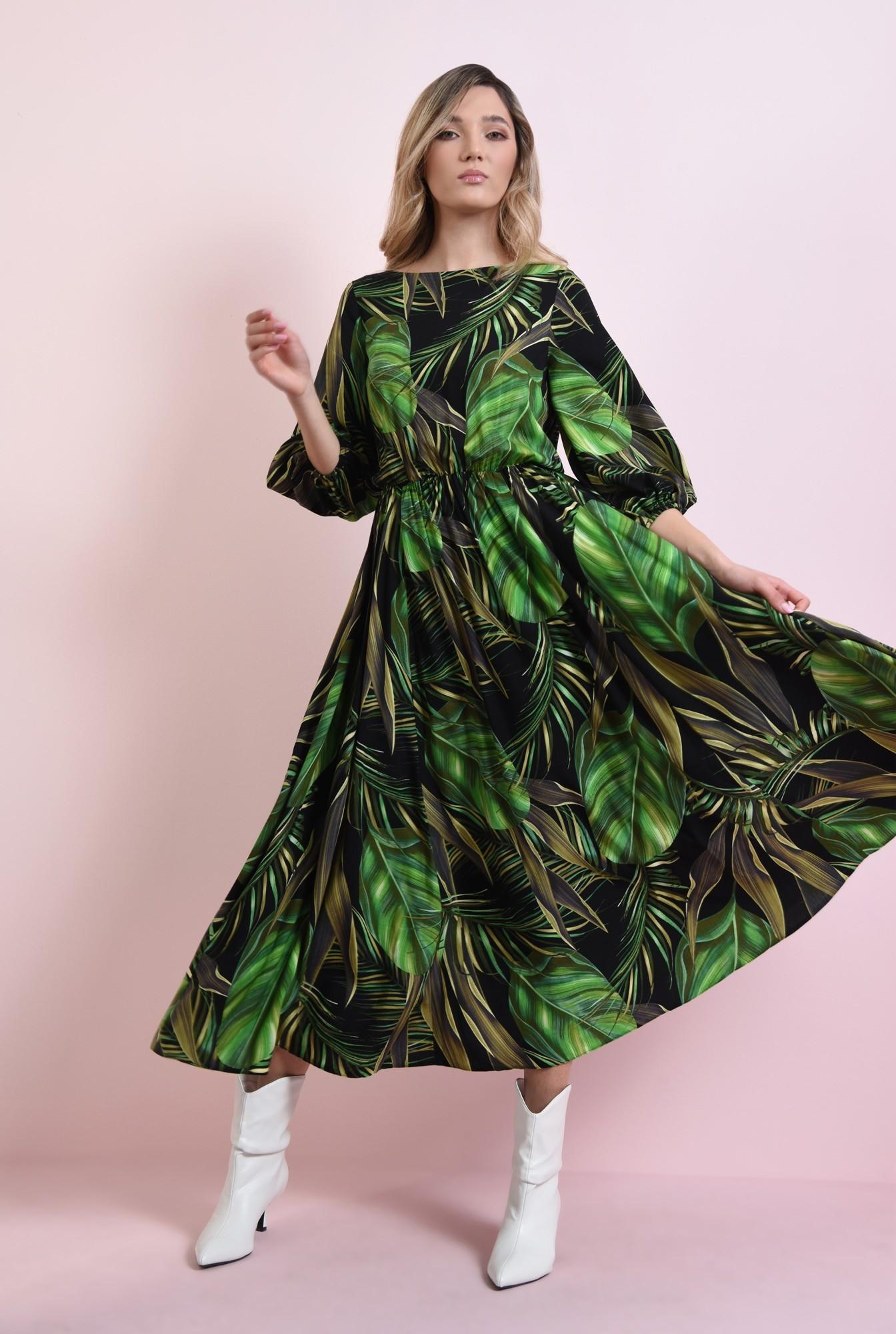 1 - rochie midi, evazata, cu print botanic