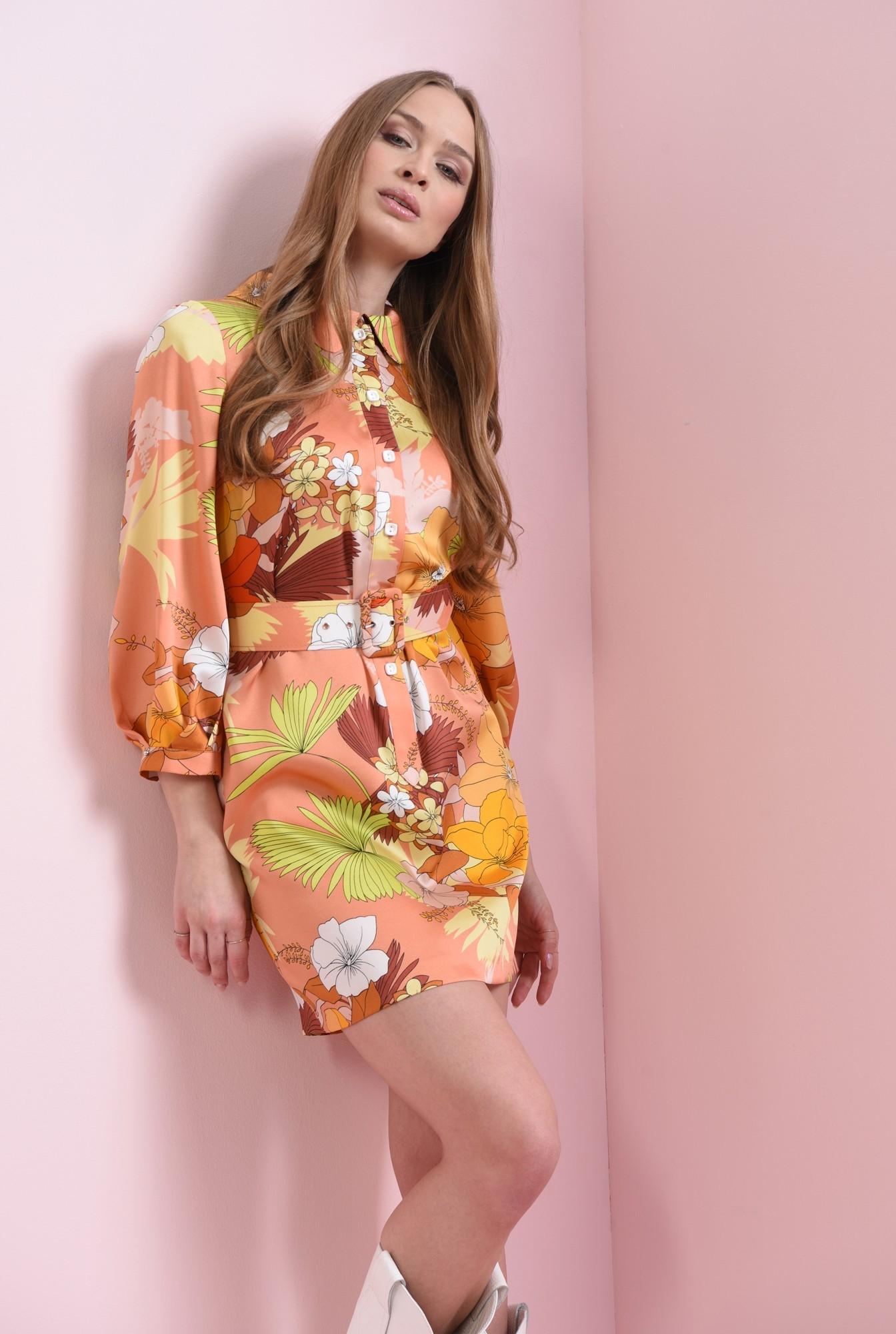 1 - rochie mini, cu centura, cu nasturi