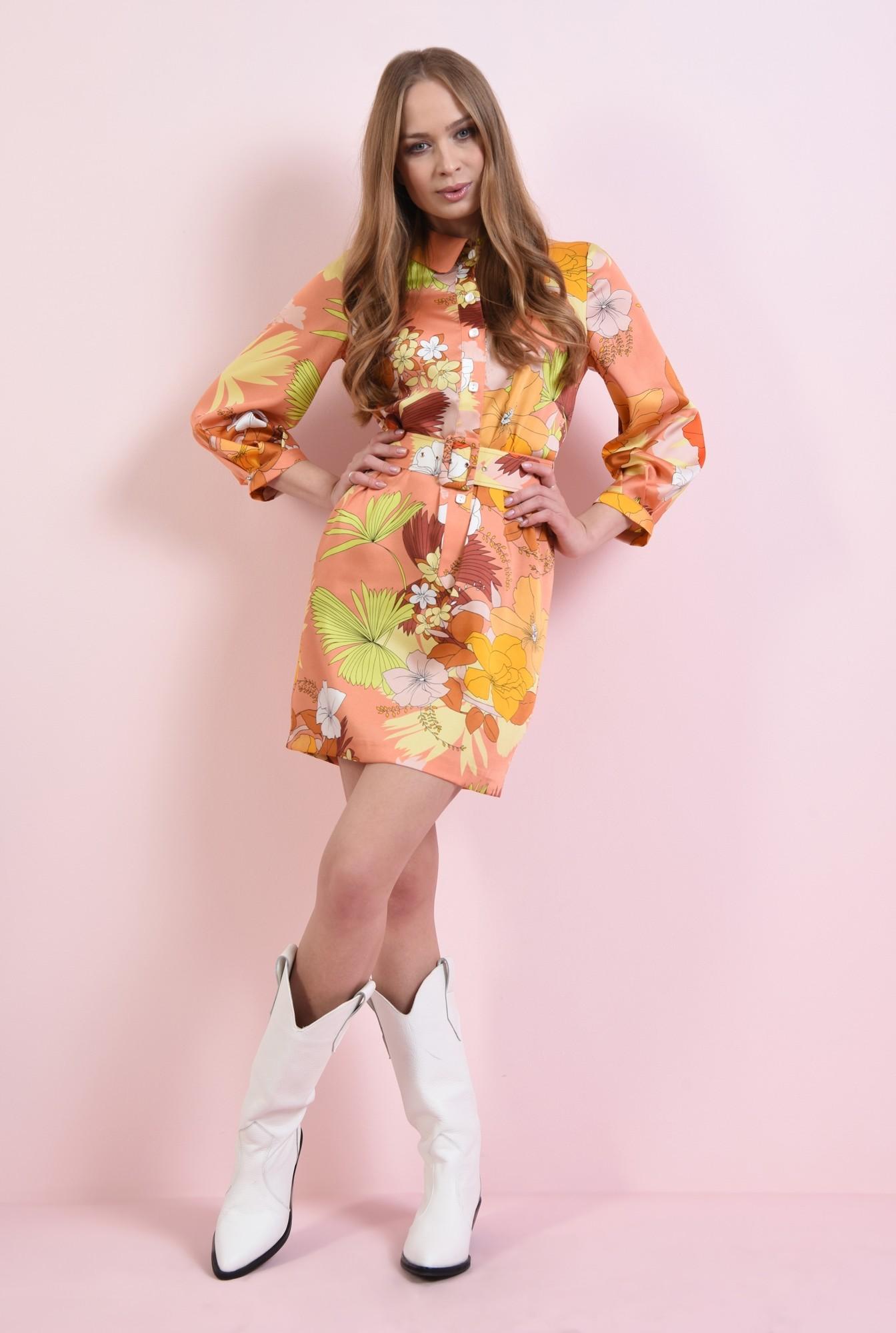 0 - rochie mini, cu centura, cu nasturi