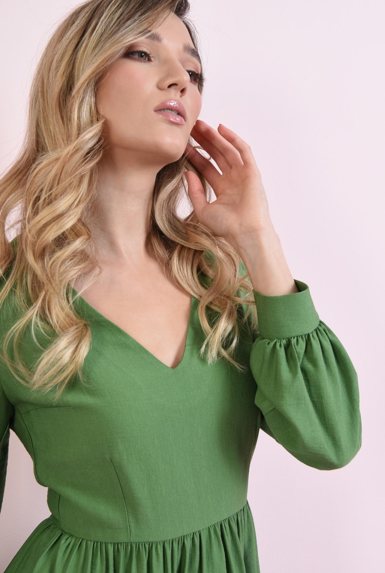2 - rochie mini, verde, cu volan