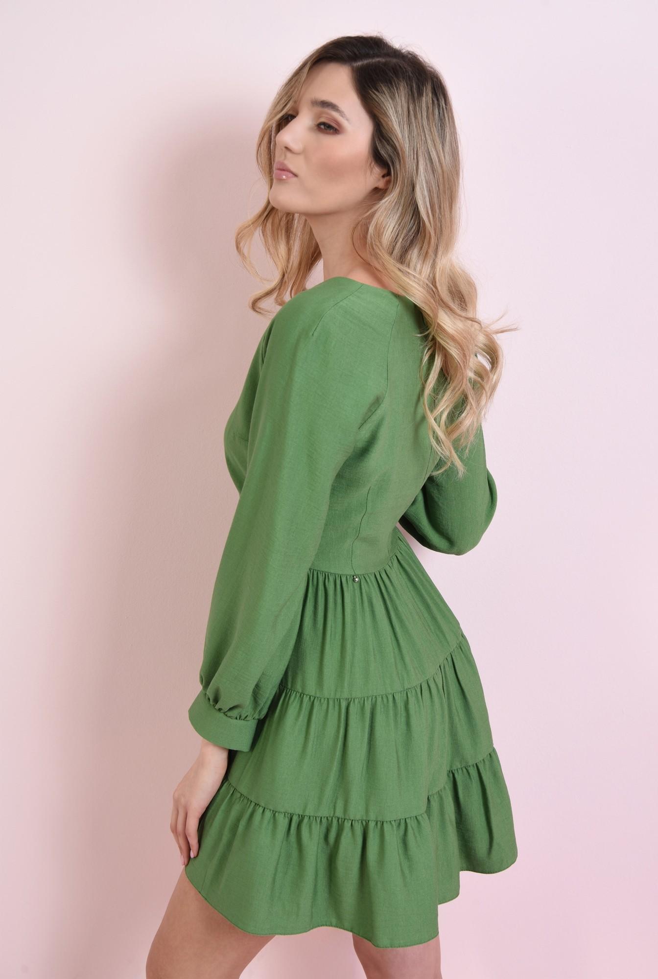 1 - rochie mini, verde, cu volan
